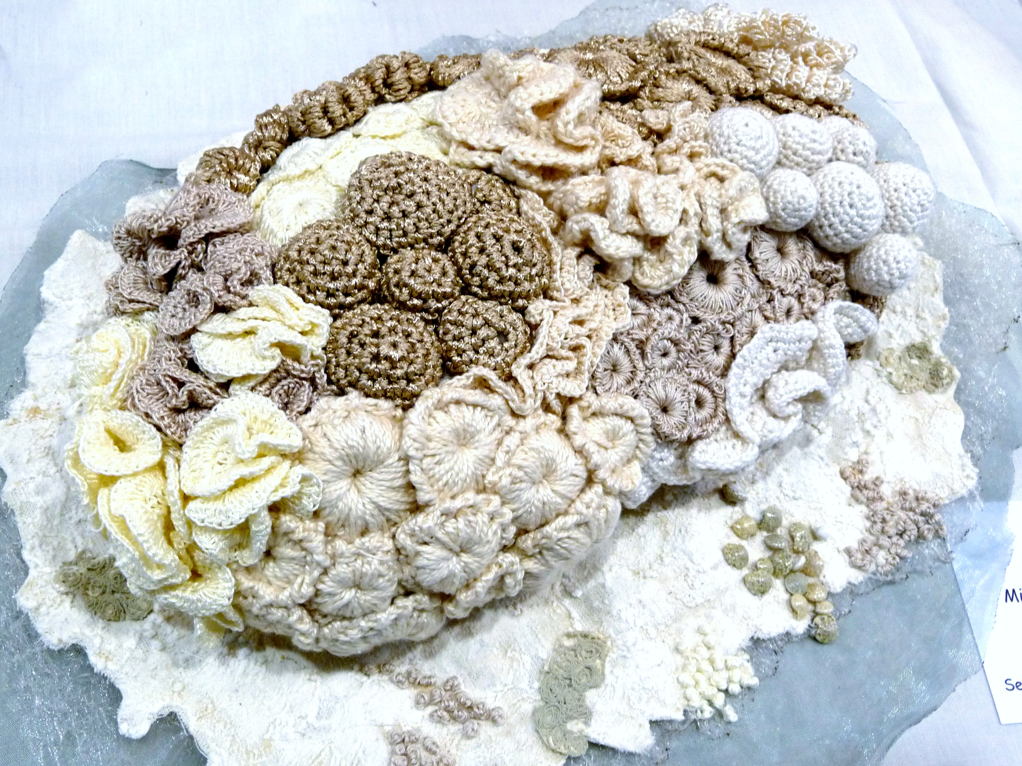CORAL REEF by Shirley Williams, mixed media with crochet & hand stitch