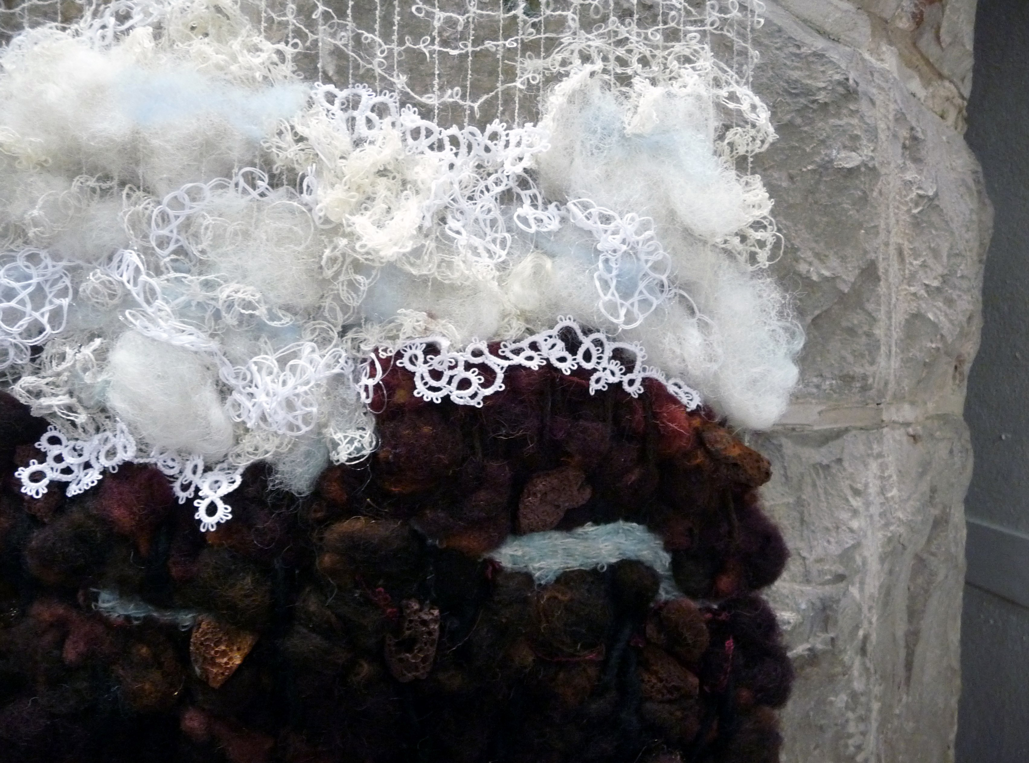 (detail) STORMY SEAS - OFF TENERIFFE by Diana Finn, weaving embellished with tatting & crochet set on dtiftwood