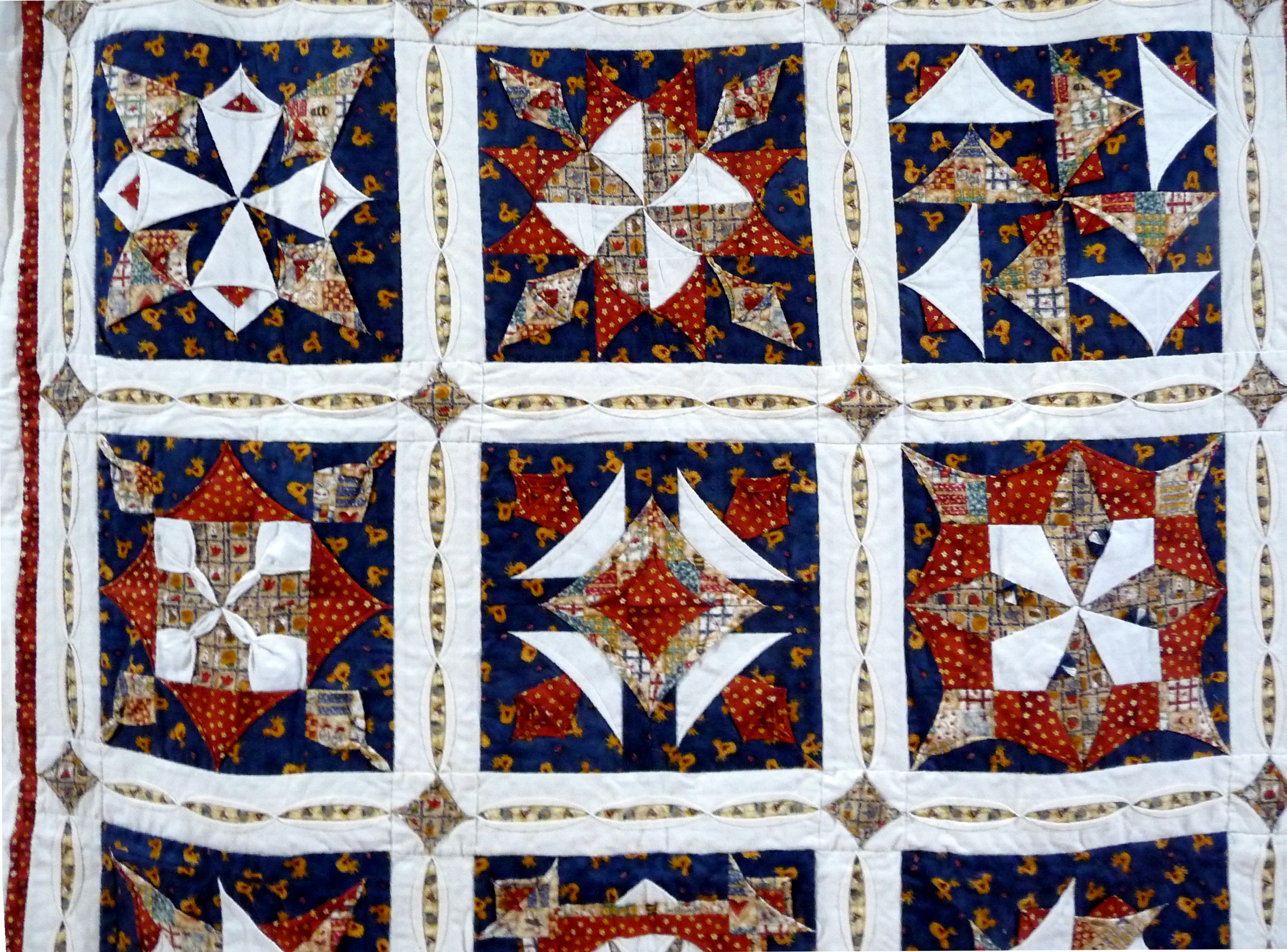TUCKS & TEXTURES by Jenny Sheen, hand pieced quilt, machine quilted