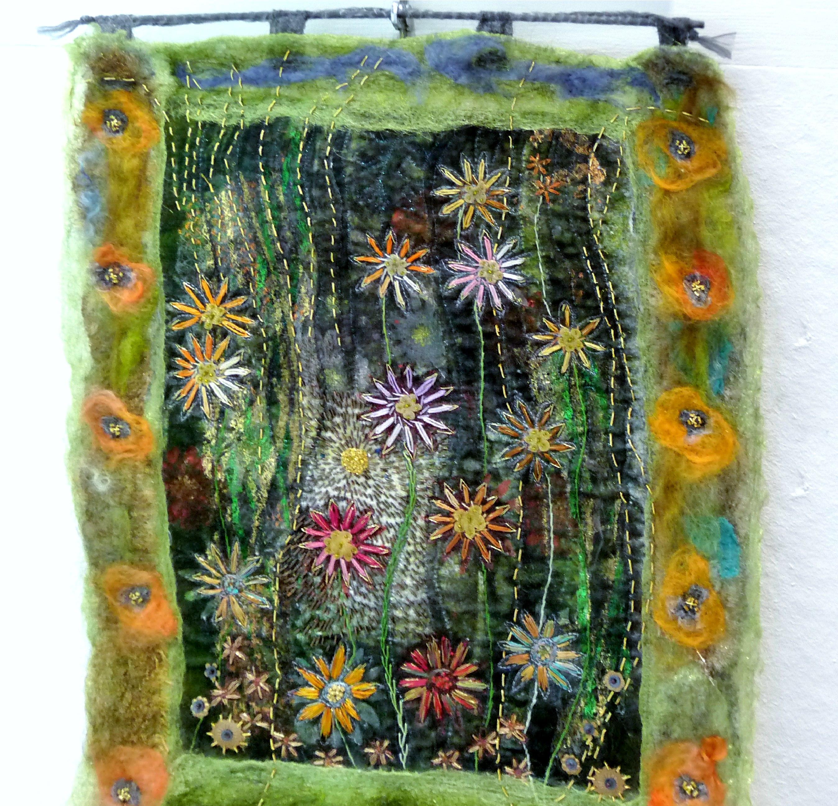 PEEPING THROUGH by Susan Hinde, hand & machine stitched printed velvet