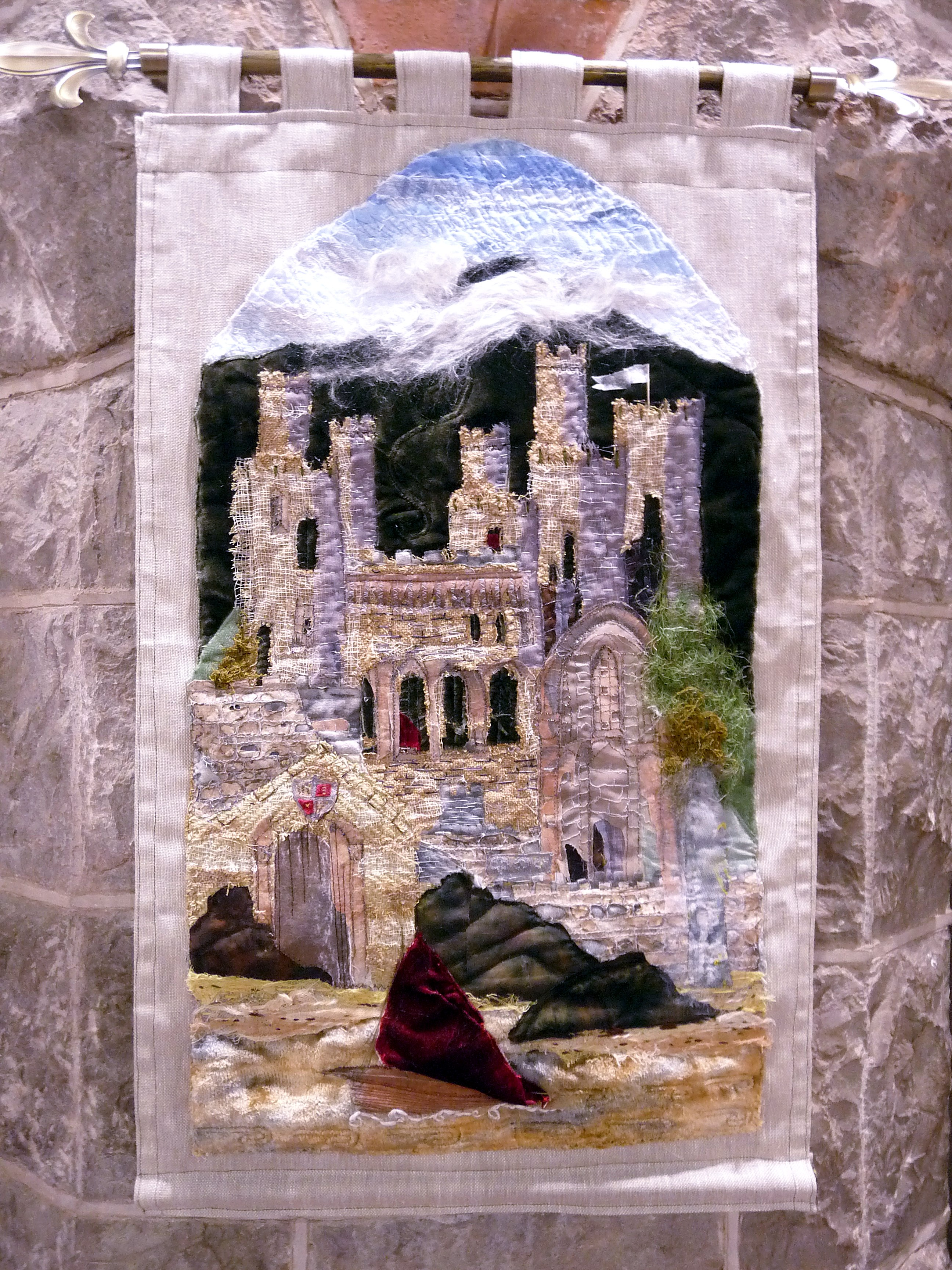 CONWY CASTLE by Linda Beagan, hand & machine embroidery