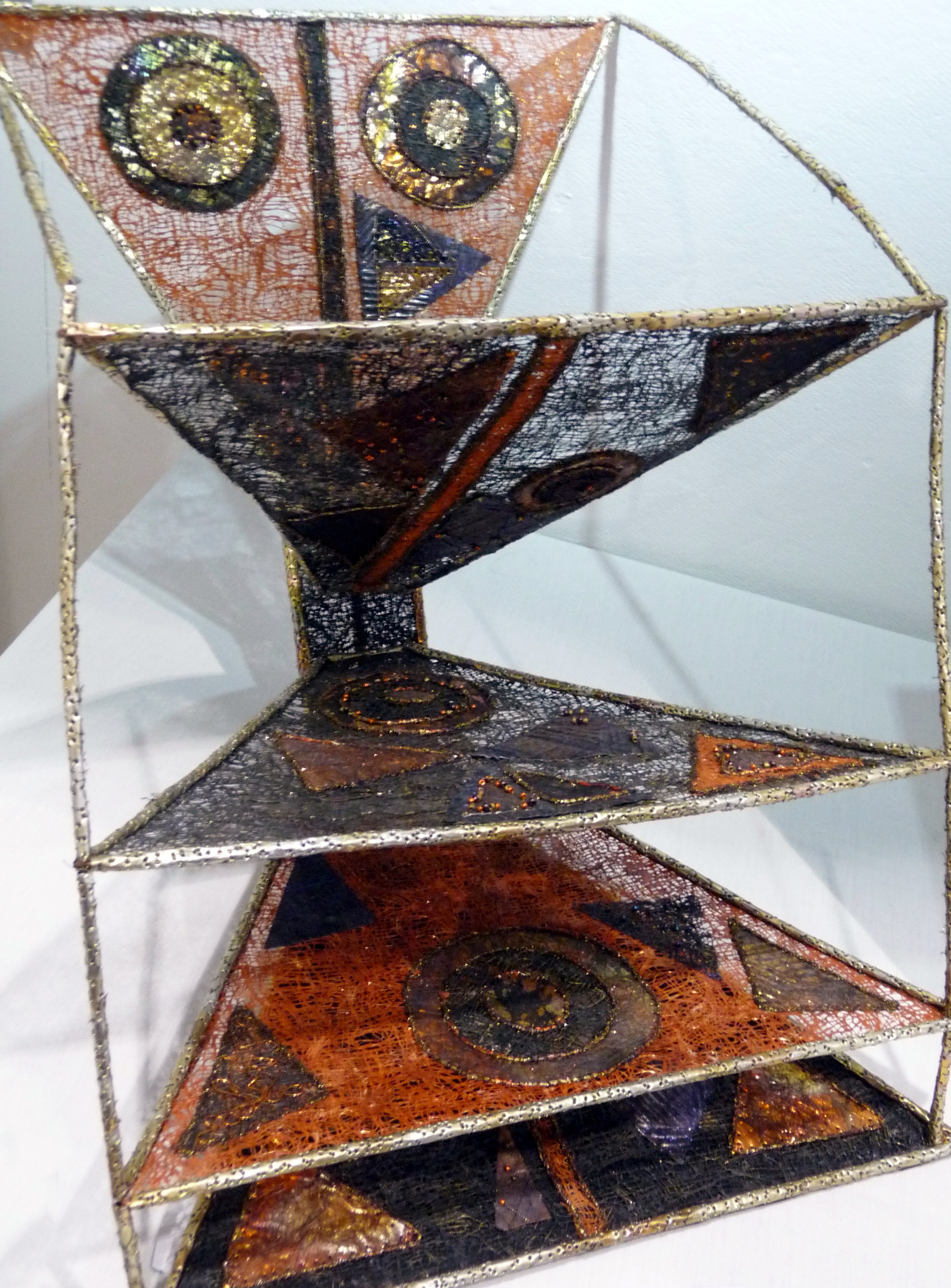 ANCESTRAL LINKS by Alison Reynolds, metals including recycled drinks cans, hand & machine stitched