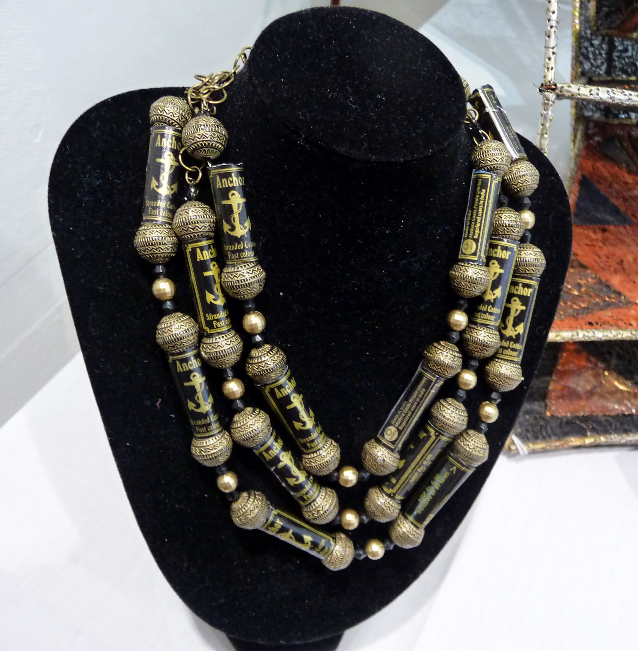 JEWELLRY by Anita Kumar, paper beads on embroidery threads
