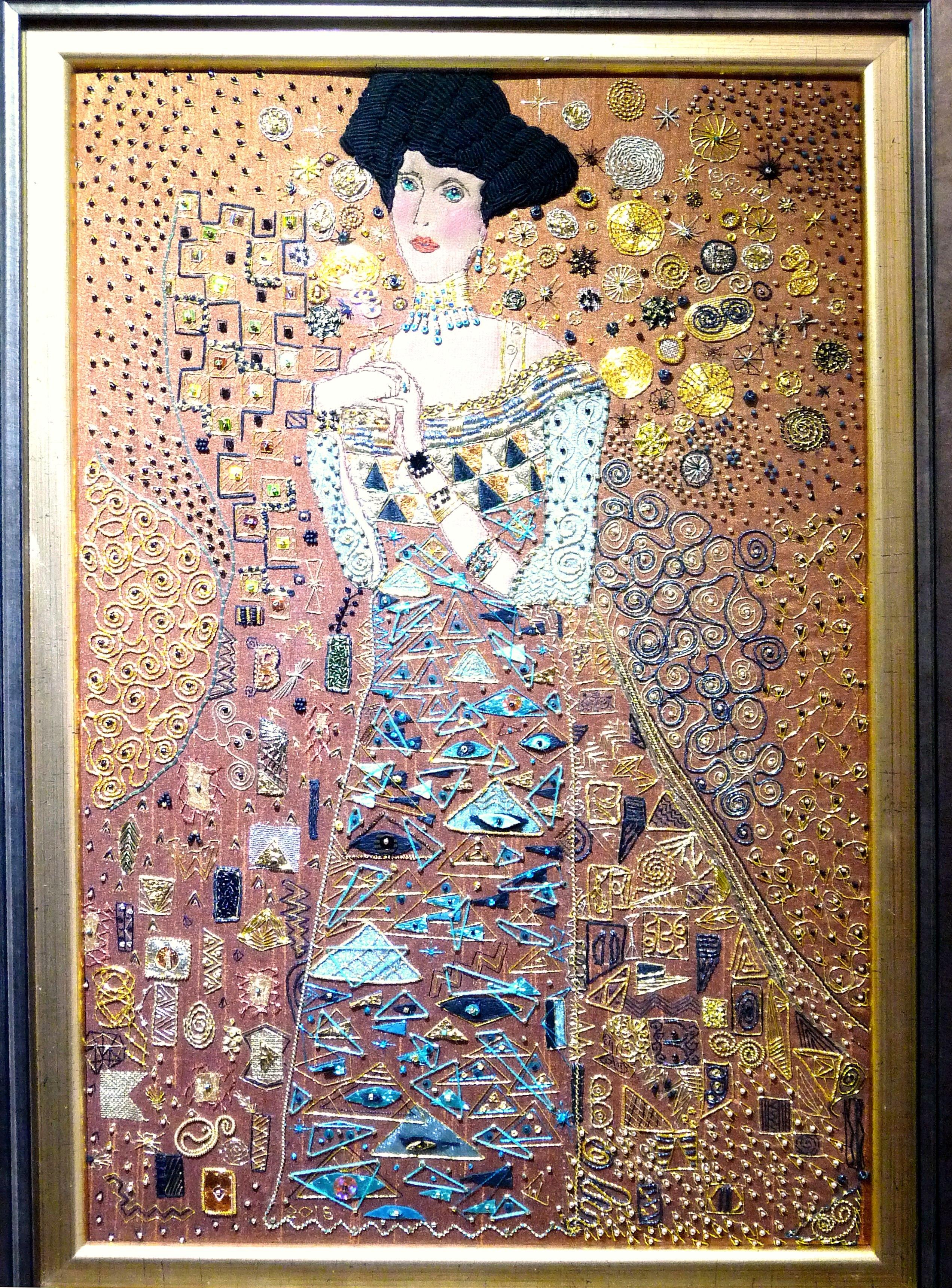 KLIMPT'S ADELE by Wendy Cartwright, goldwork. Winner of Joyce Stubbs Memorial Prize for Traditional Embroidery at N.Wales Bienniel 2015