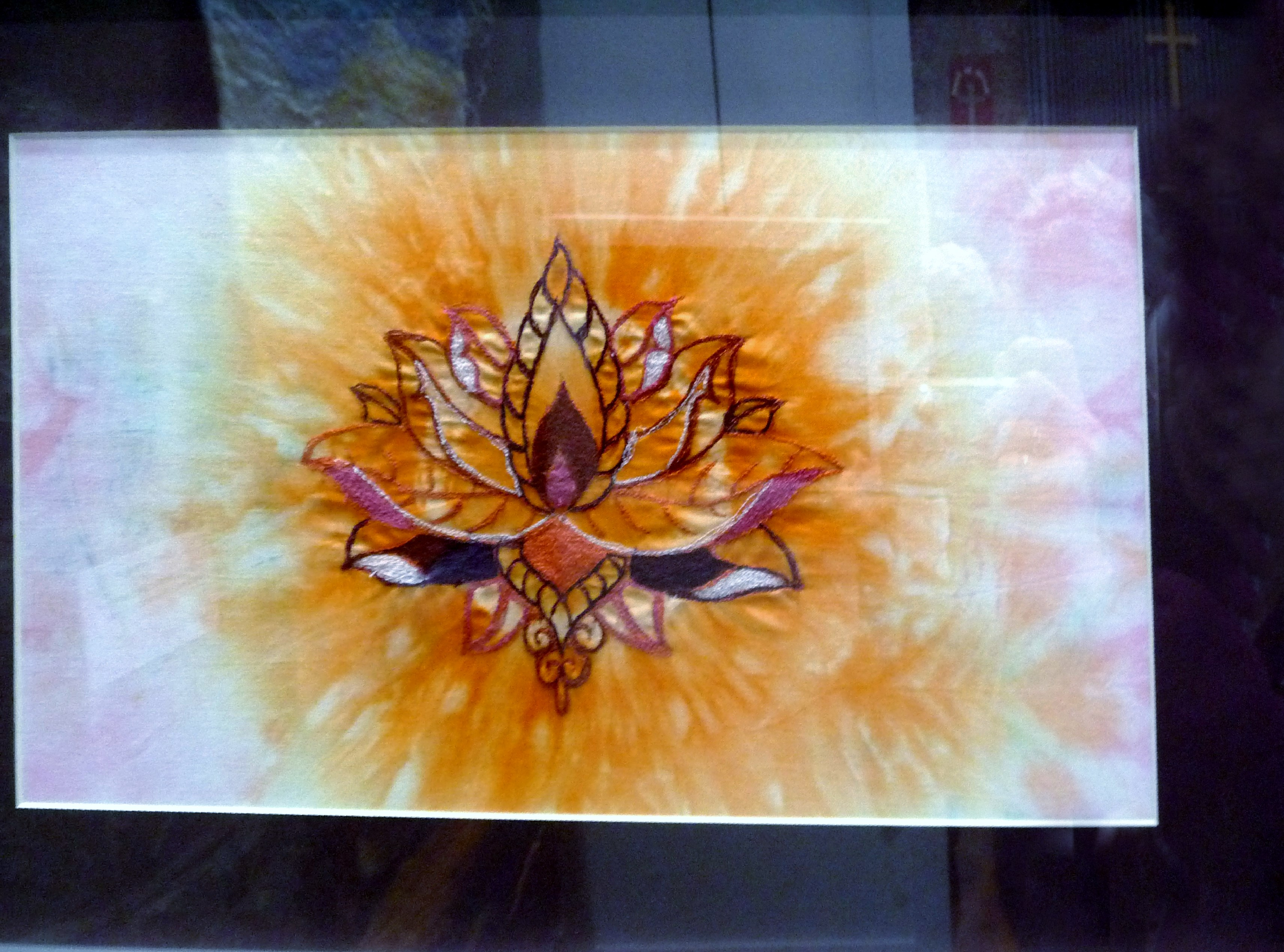 LOTUS LOVE 3 by Nerys Williams, mixed media with free machine embroidery