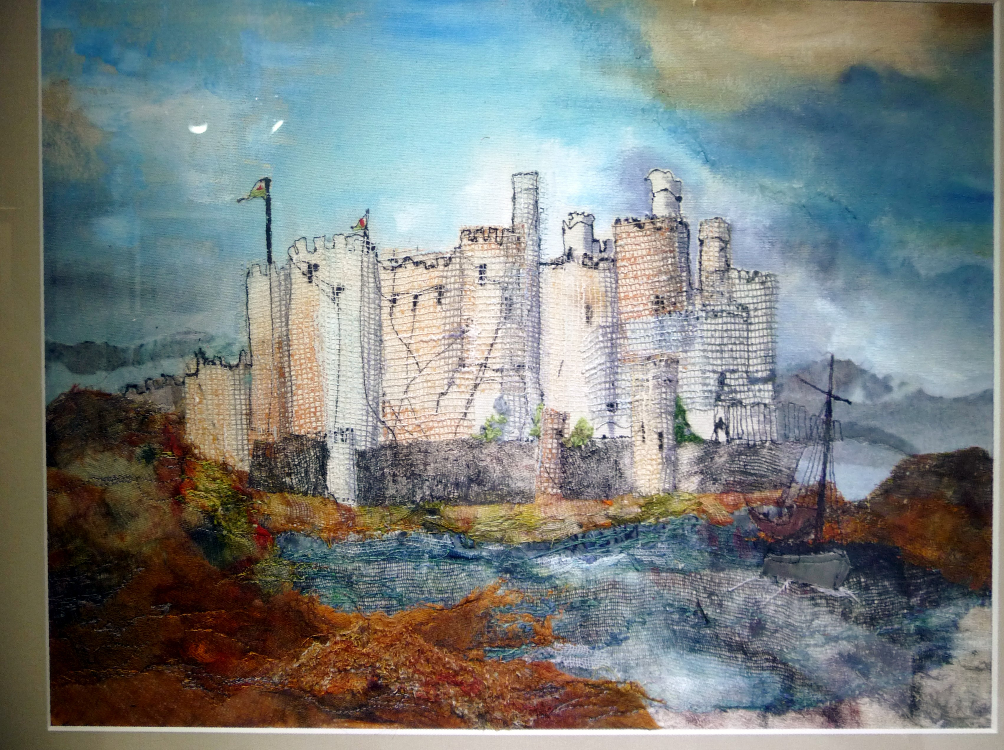 CONWy CASTLE (AFTER TURNER) by Pat Barry, mixed media with hand & machine embroidery