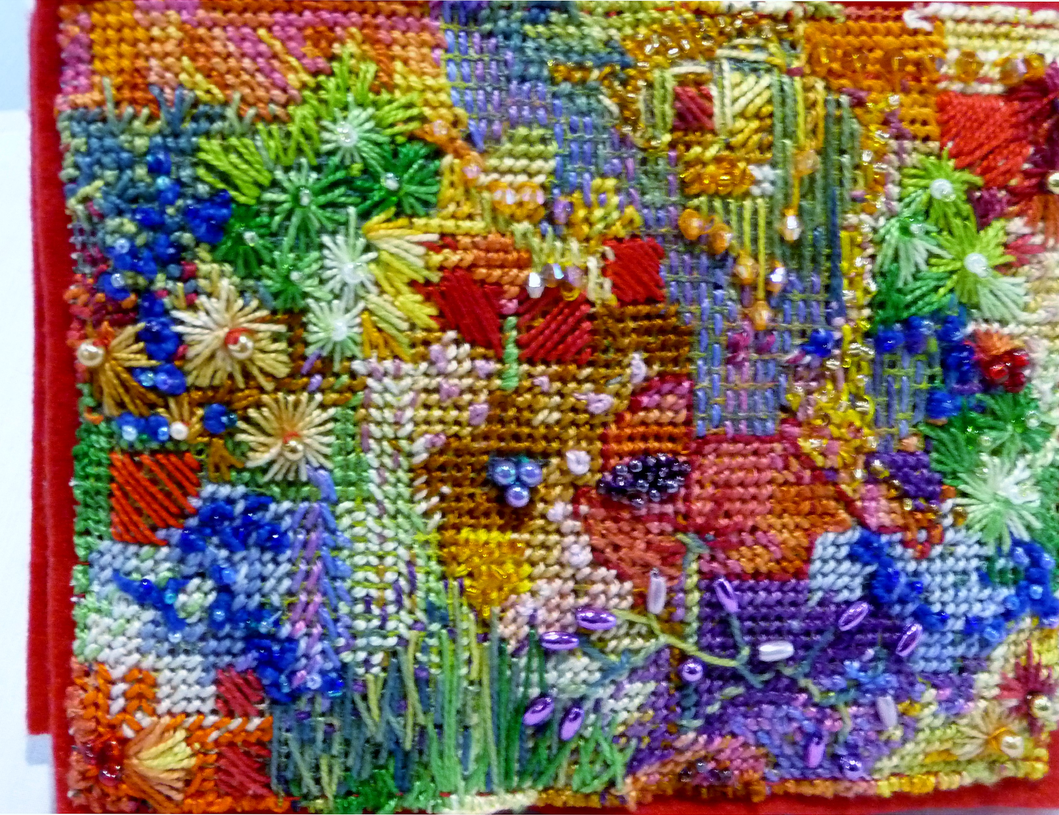 NEEDLECASE by Janette Nicholas, mixed media on counted thread canvas