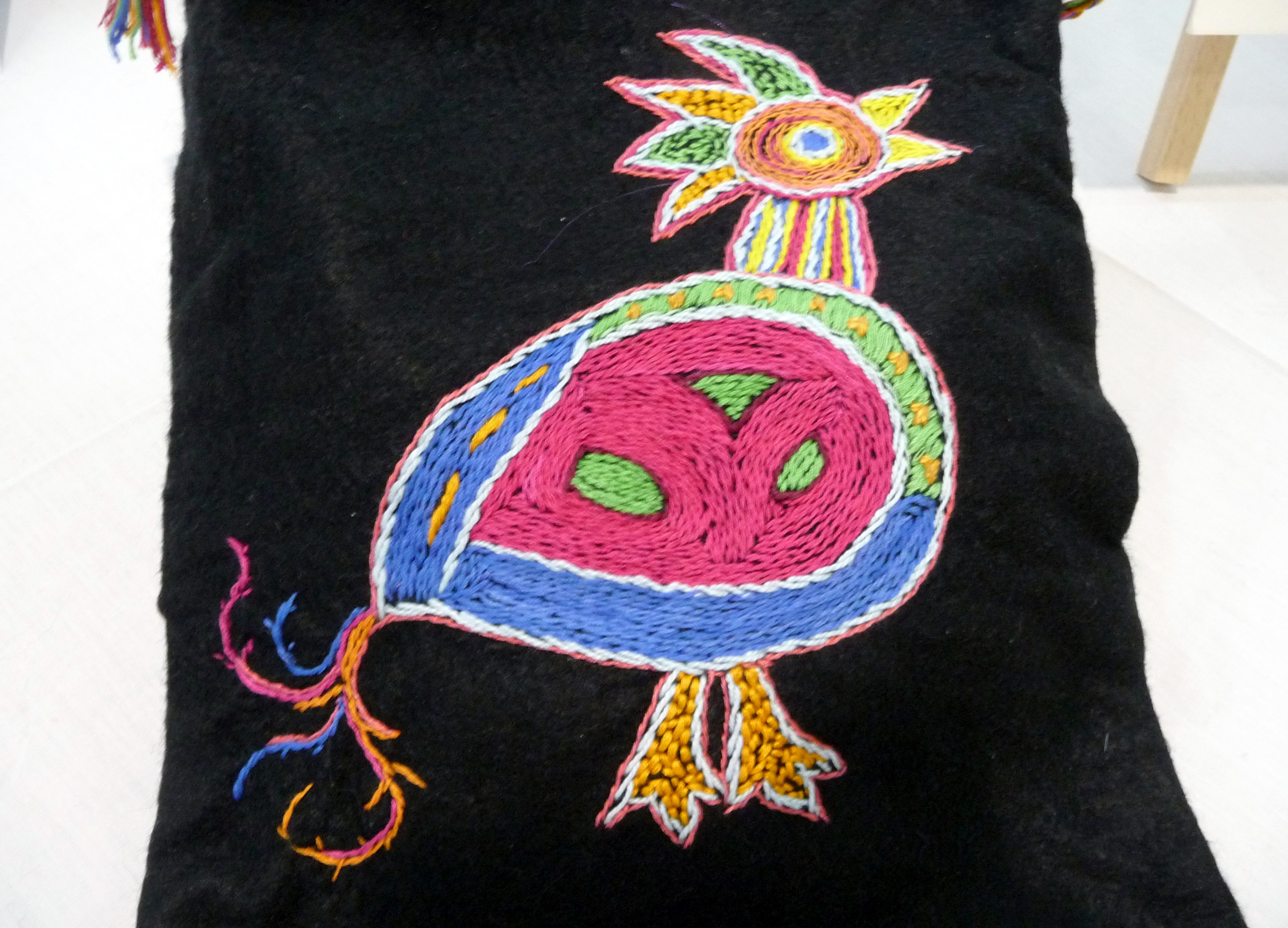 BIRD BAG by Valerie Cockcroft, hand embroidery on black felt