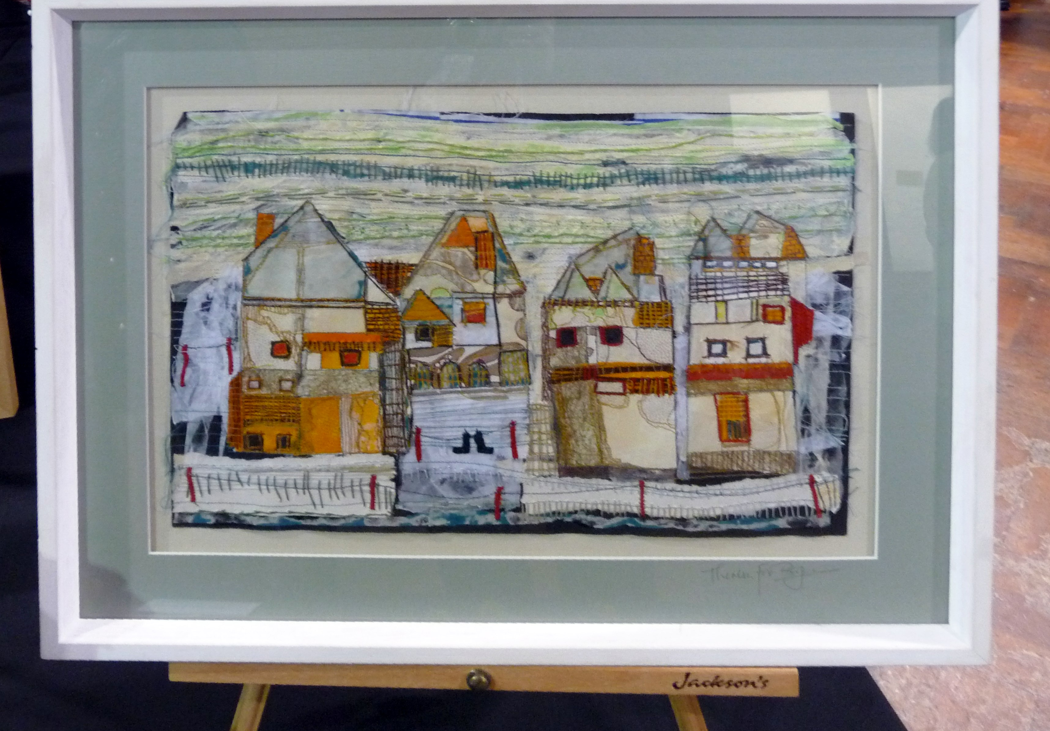 TOWNSCAPES SOCKS by Theresa Fox-Byrne, embroidered mixed media