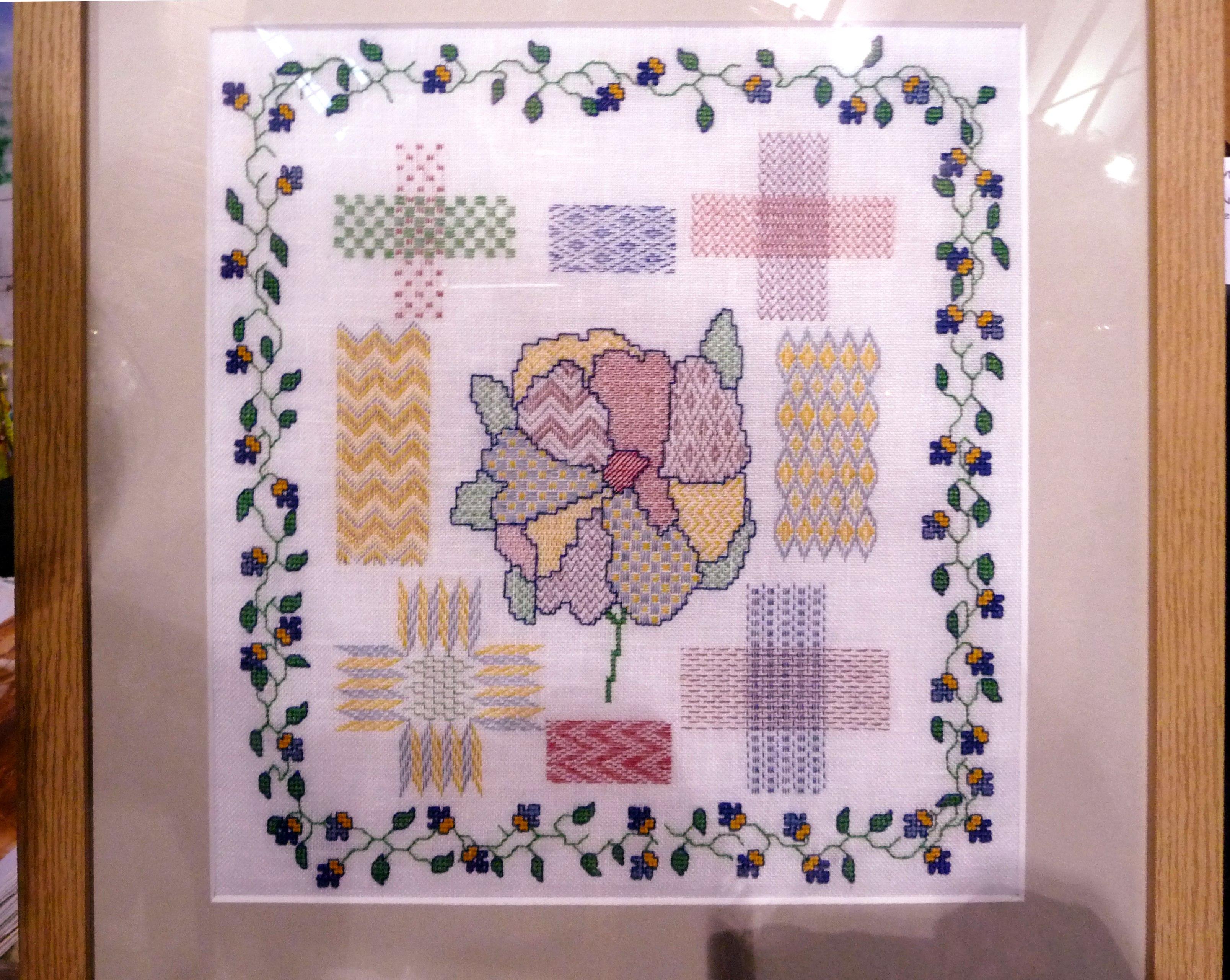GARDENIA -DARNING SAMPLER by Gill McKenna, hand embroidery on linen