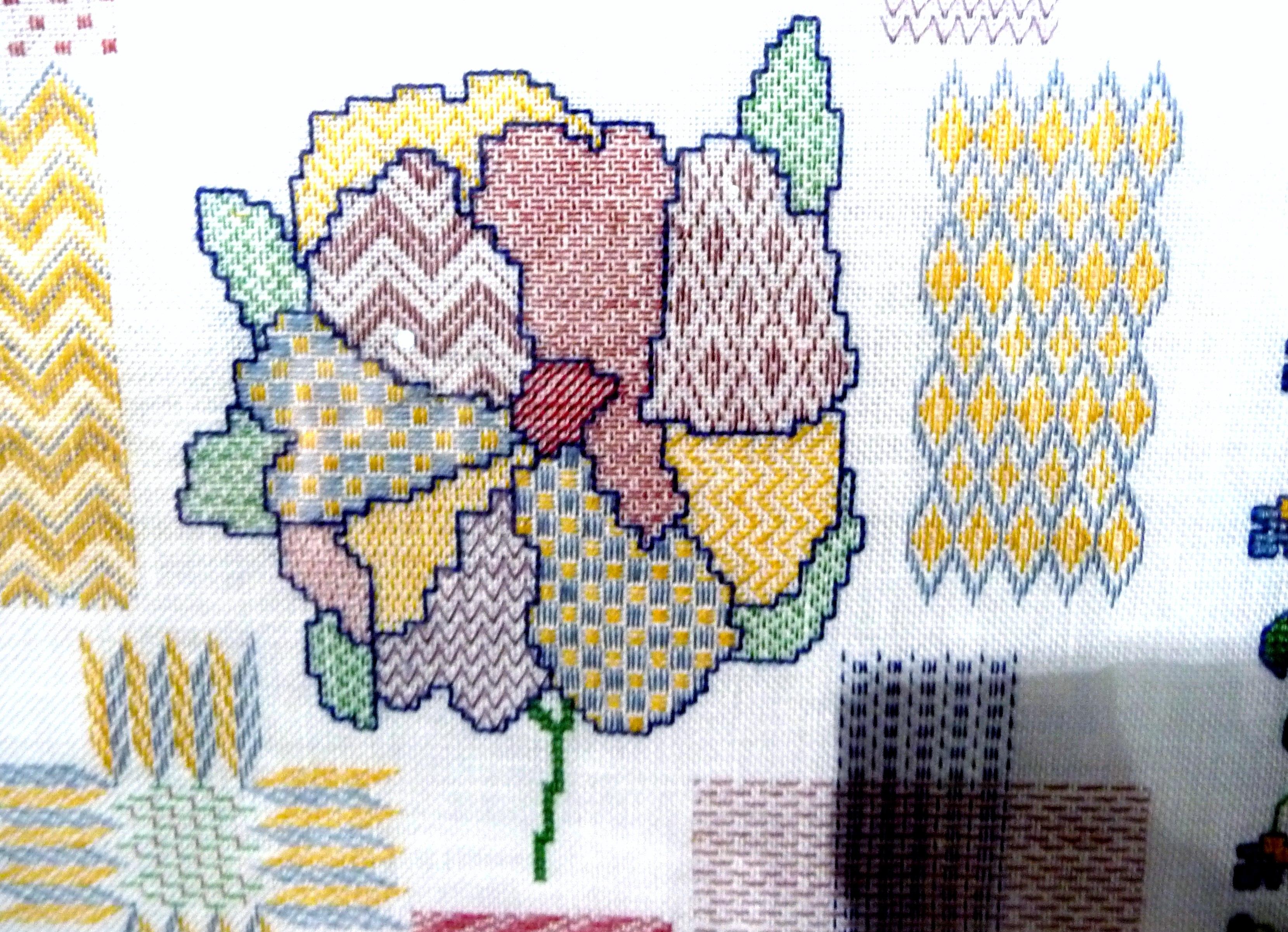 (detail) GARDENIA -DARNING SAMPLER by Gill McKenna, hand embroidery on linen
