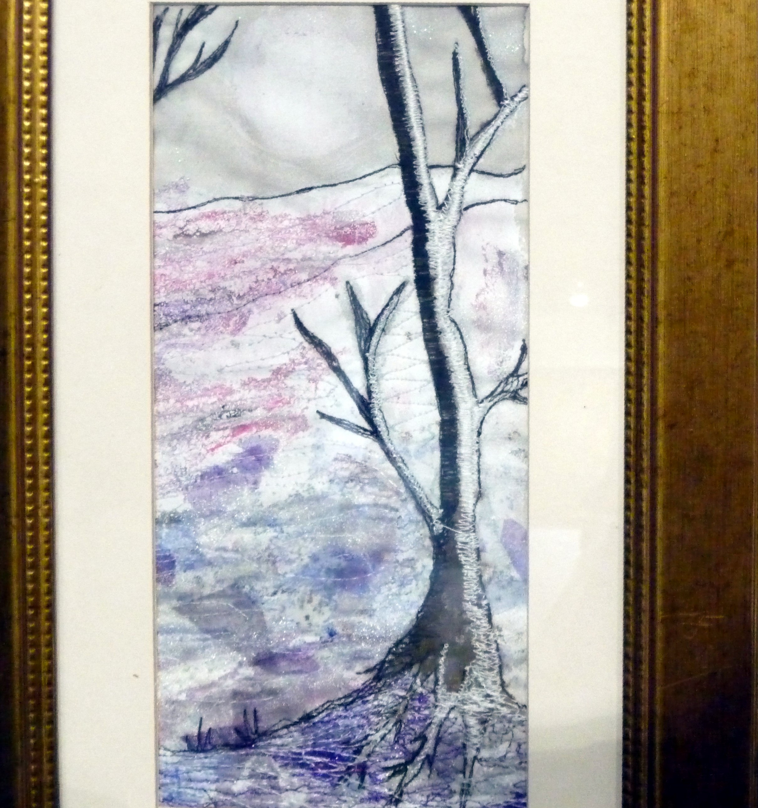 WINTER TREE by Roselie Gardner, machine embroidered fabric painting