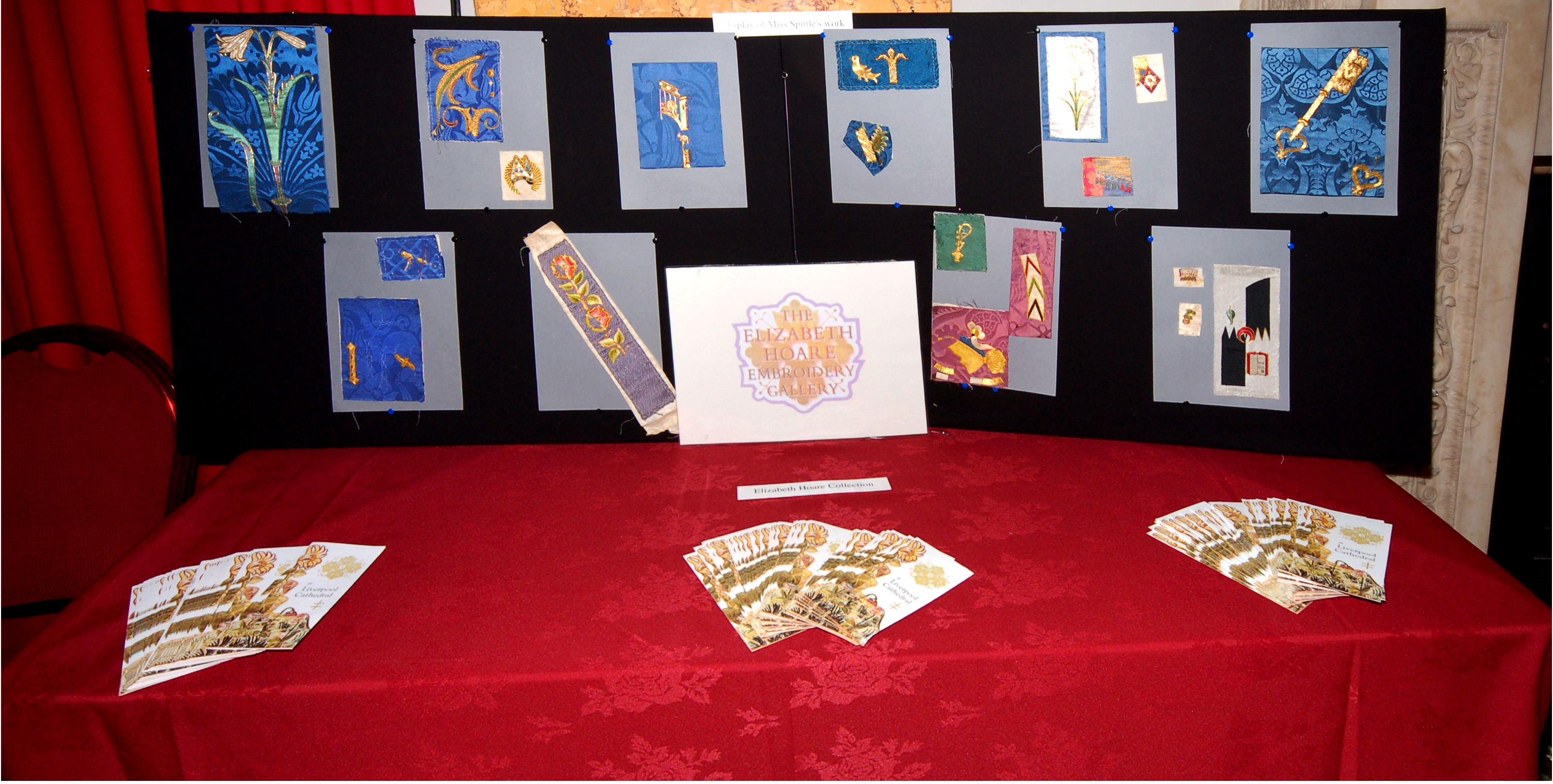 Display of embroidery from Elizabeth Hoare Gallery at NW Regional Day 2008 Liverpool Town Hall