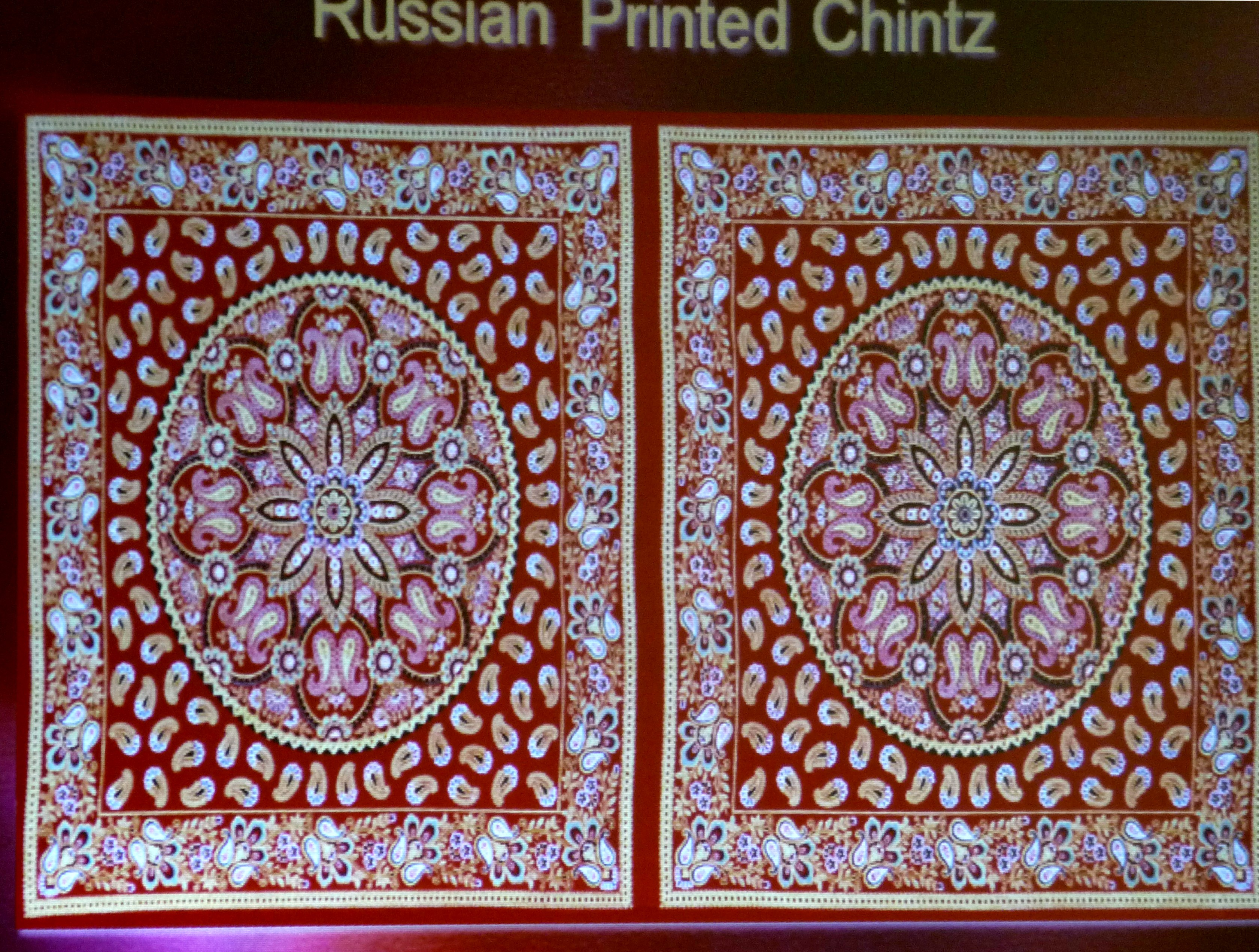 Qaraqalpaq people purchased Russian chintz to line their embroidered headdresses