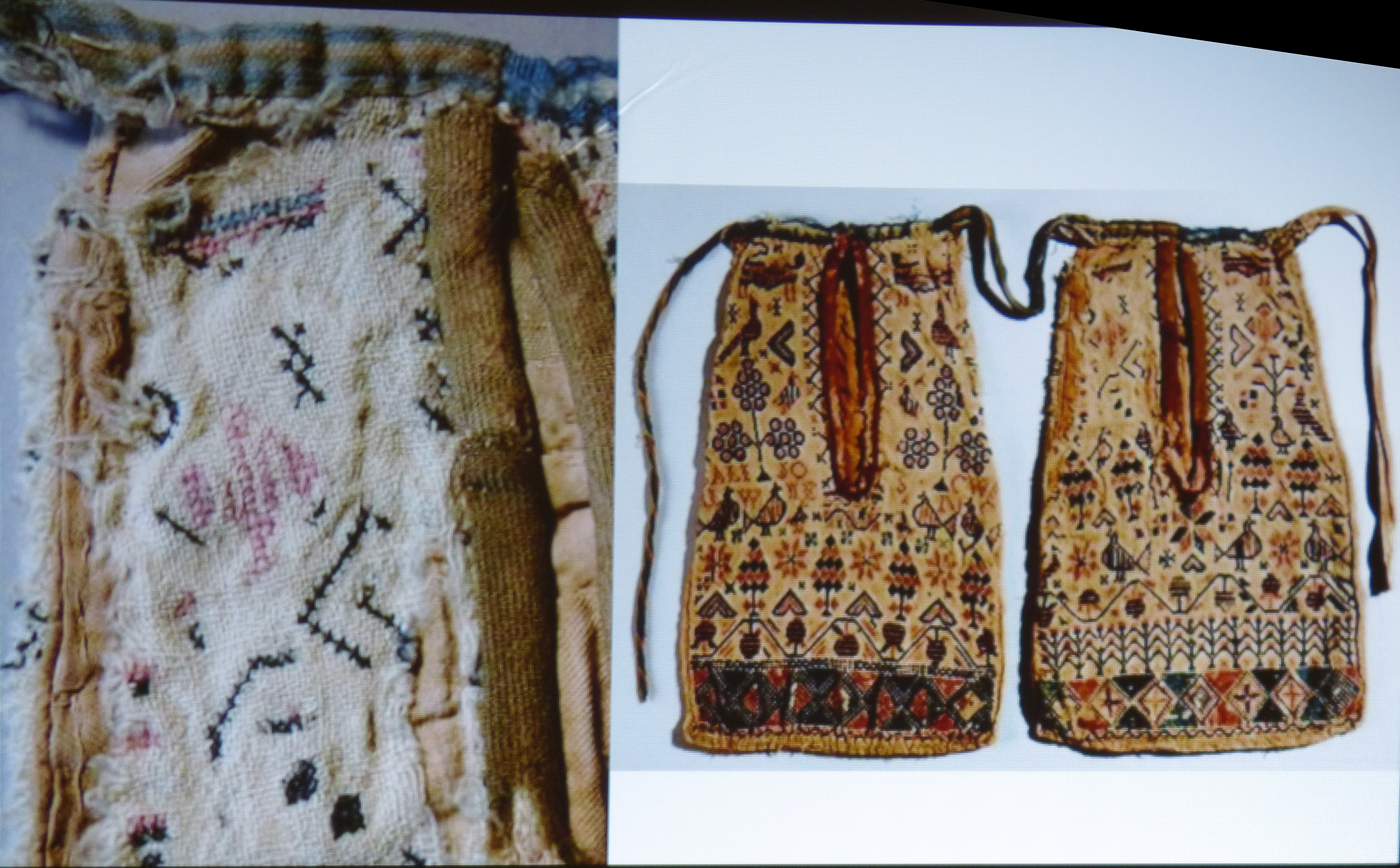 slide showing Elizabethan pockets which were an influence on Hanna Robert's work