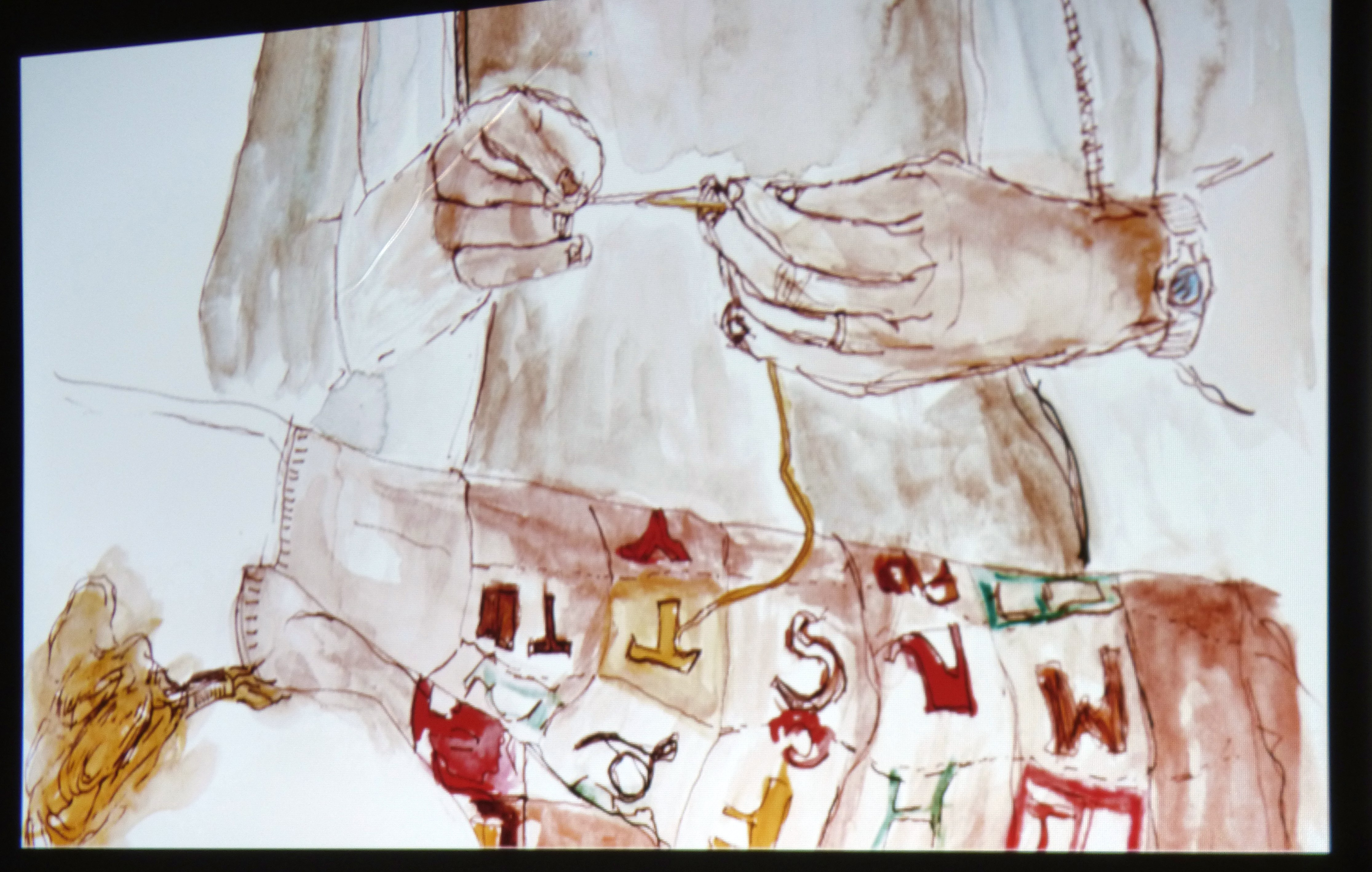 slide showing painting by Hanna Roberts
