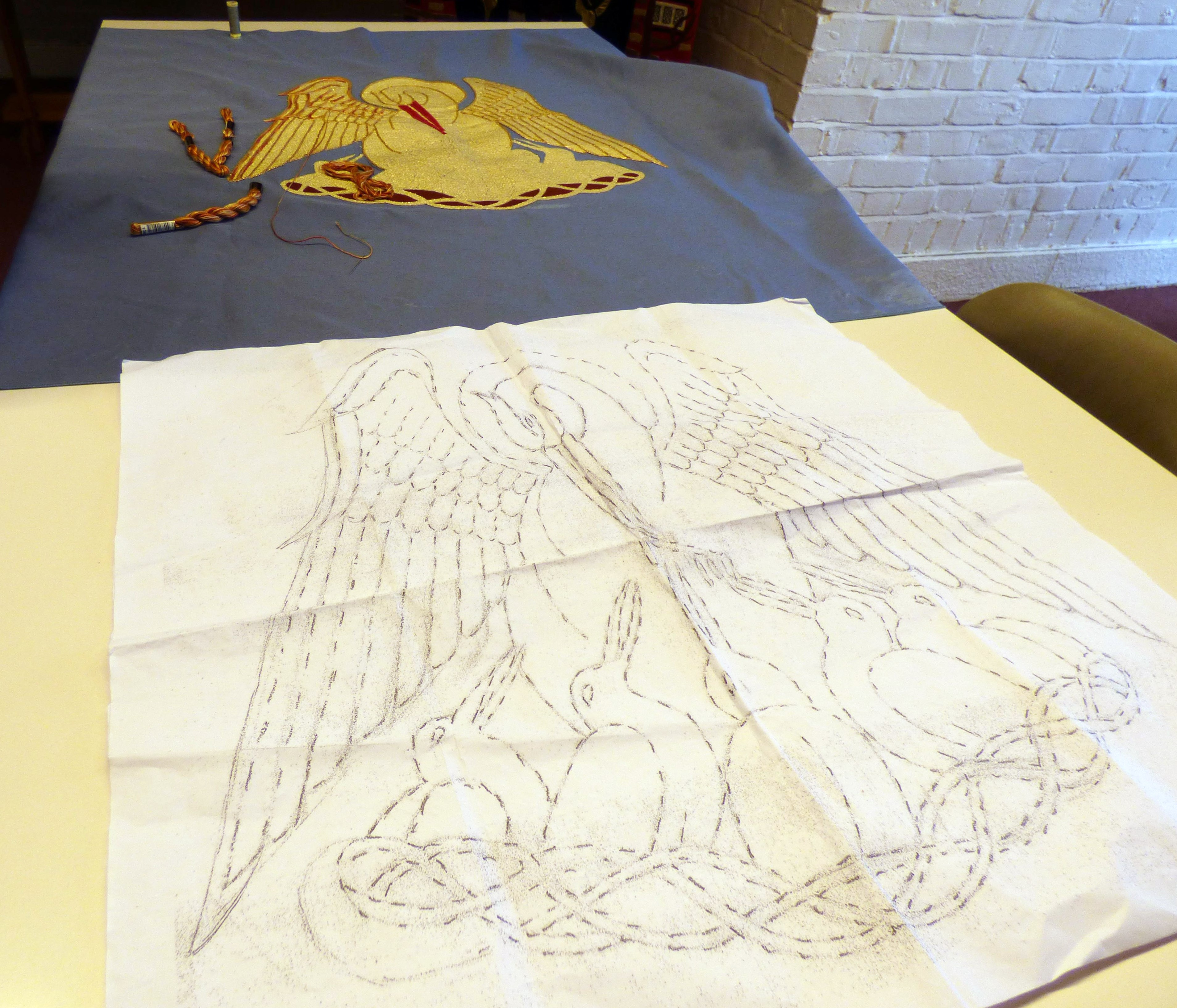 embroidery under construction at Embroidery Studio open day, Liverpool Metropolitan Cathedral 2017