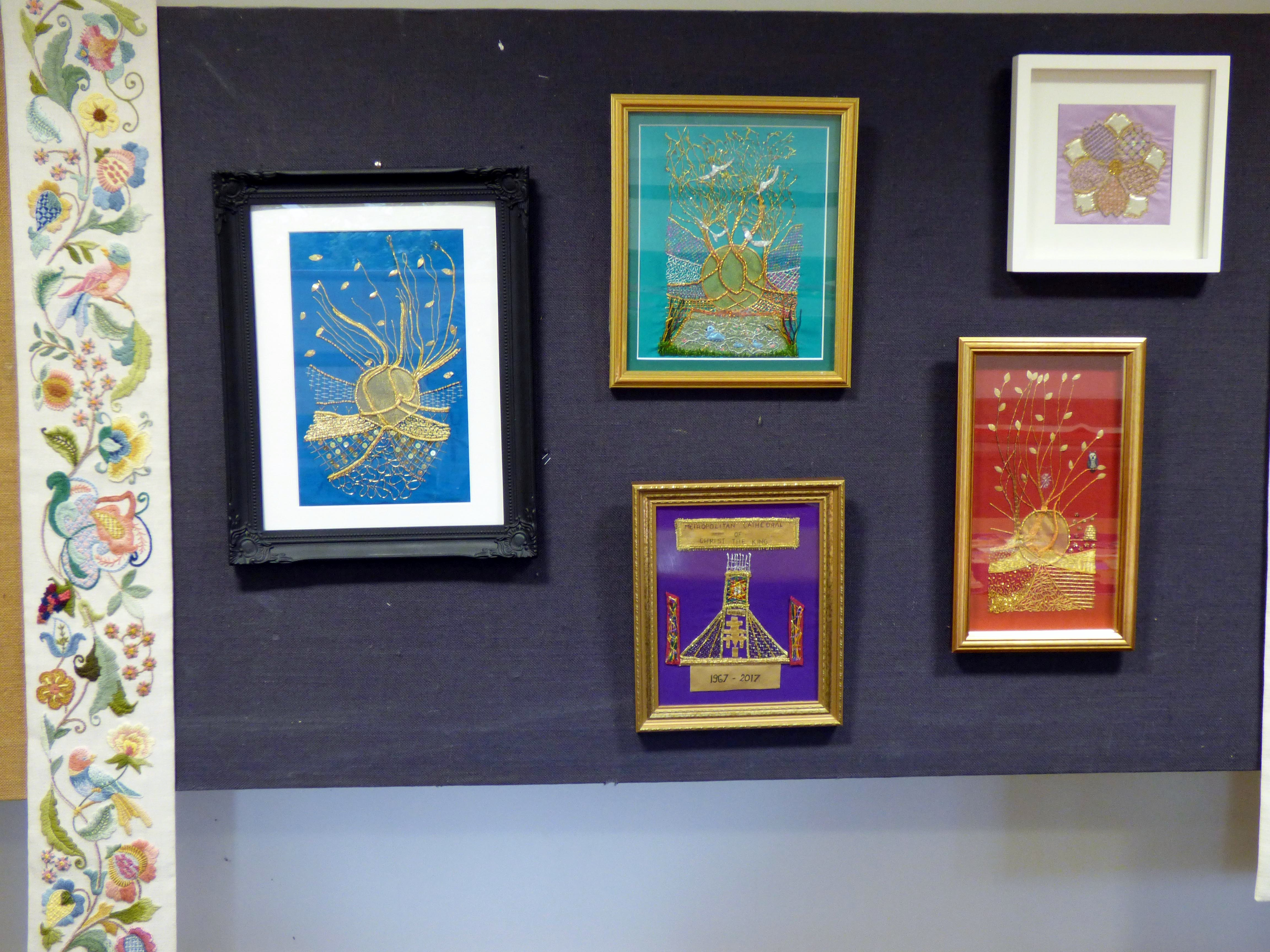 work by Embroidery For Pleasure group at Embroidery Studio open day, Liverpool Metropolitan Cathedral 2017