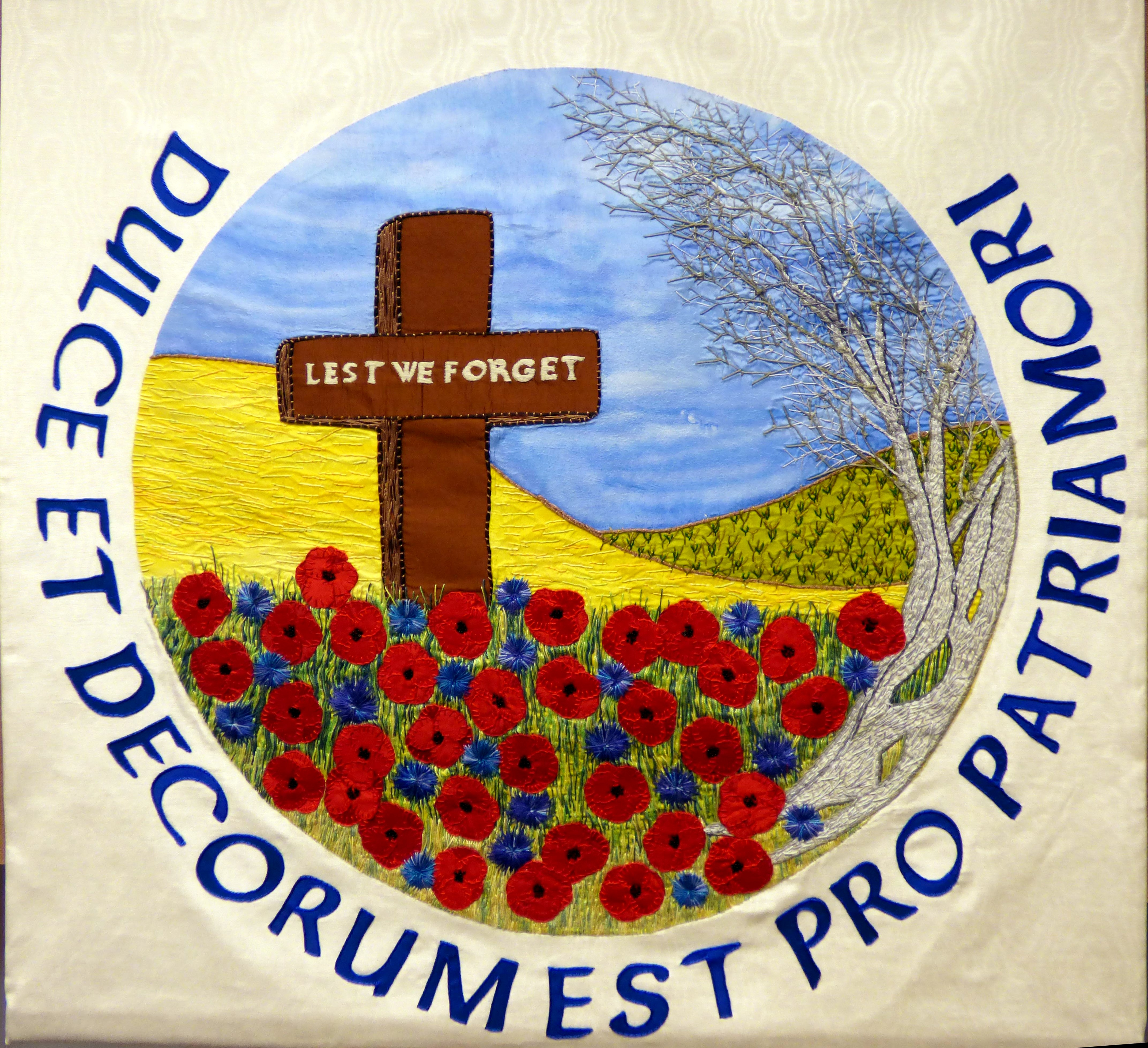 ALTAR FRONTAL TO MARK CENTENARY OF WORLD WAR 1 at Embroidery Studio open day, Liverpool Metropolitan Cathedral 2017