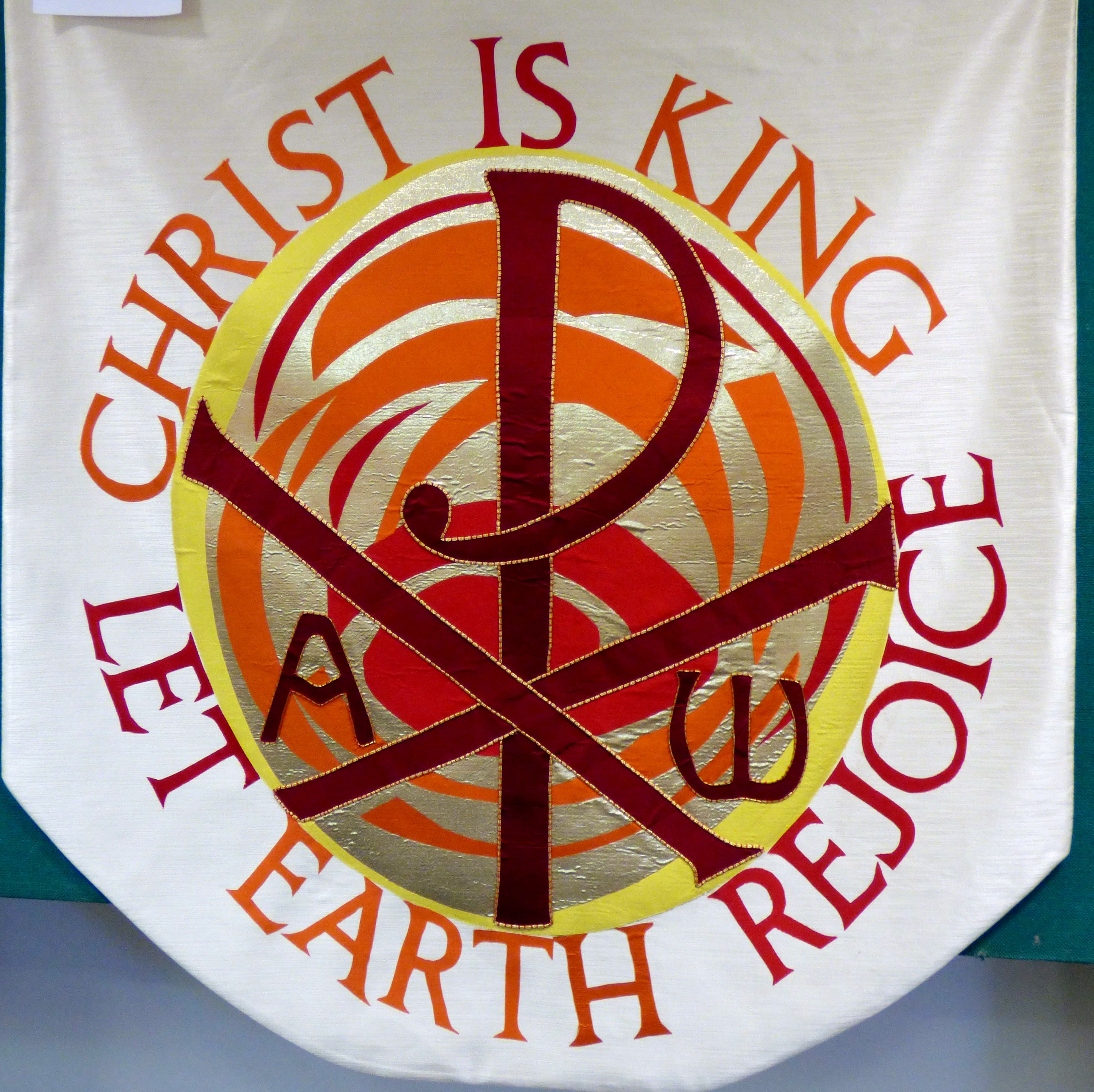 FEAST OF CHRIST THE KING ALTAR FRONTAL at  Embroidery Studio open day, Liverpool Metropolitan Cathedral 2017