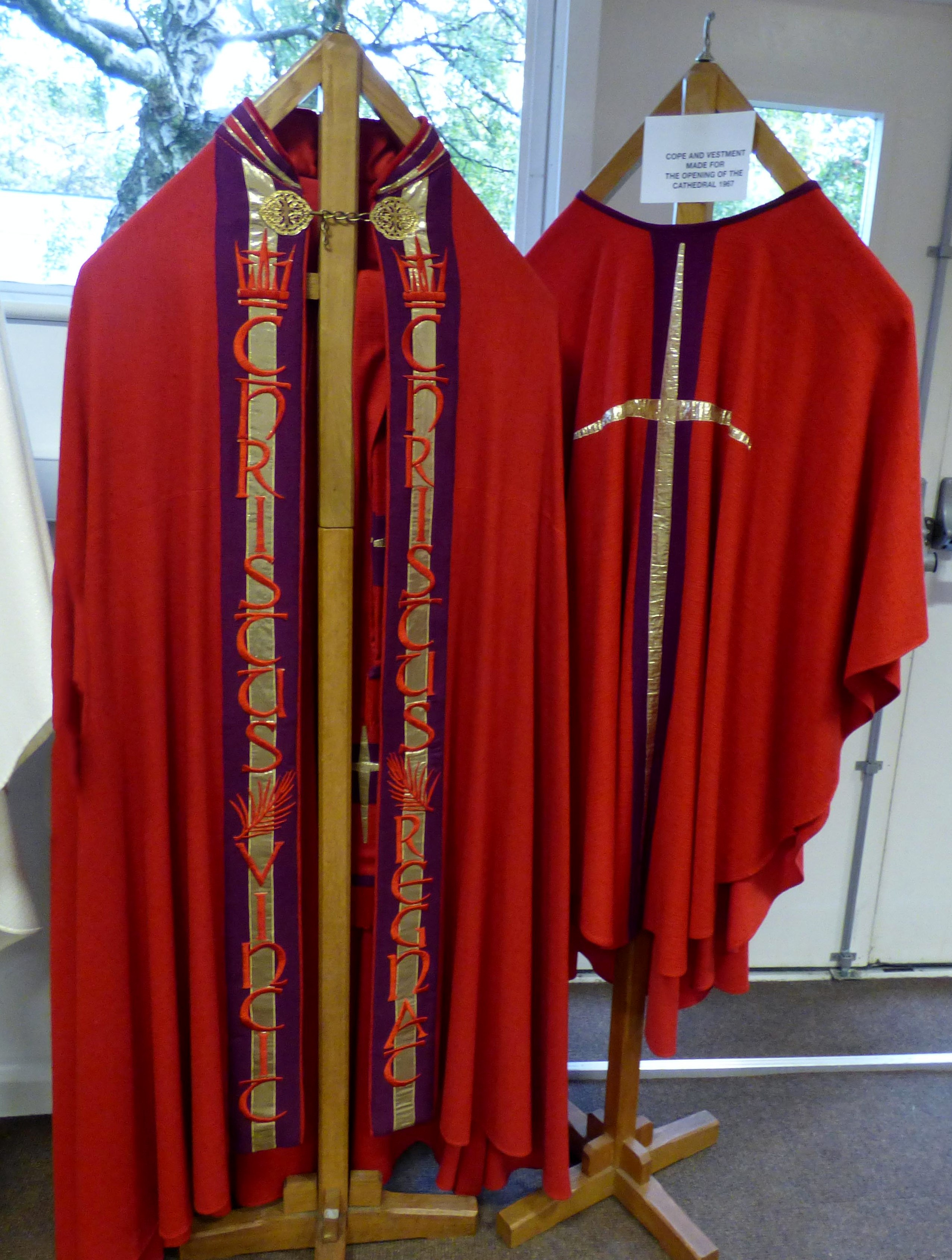 COPE AND VESTMENT MADE FOR THE OPENING OF THE CATHEDRAL 1967 at Embroidery Studio open day, Liverpool Metropolitan Cathedral 2017
