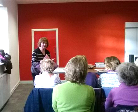 Norma Heron is talking about her work at Parbold EG