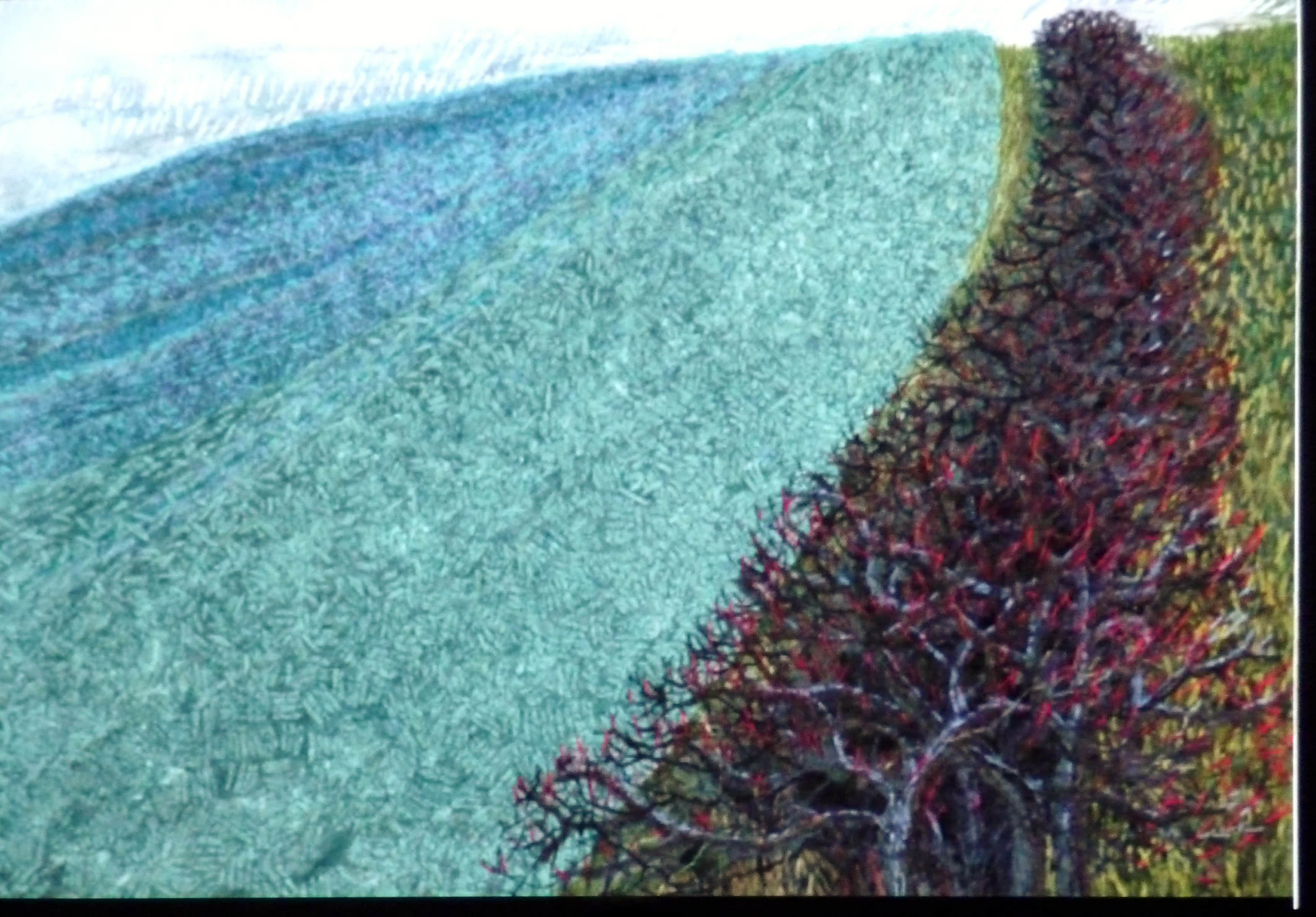 embroidery, based on farmland and hedgerows, by Jan Beaney