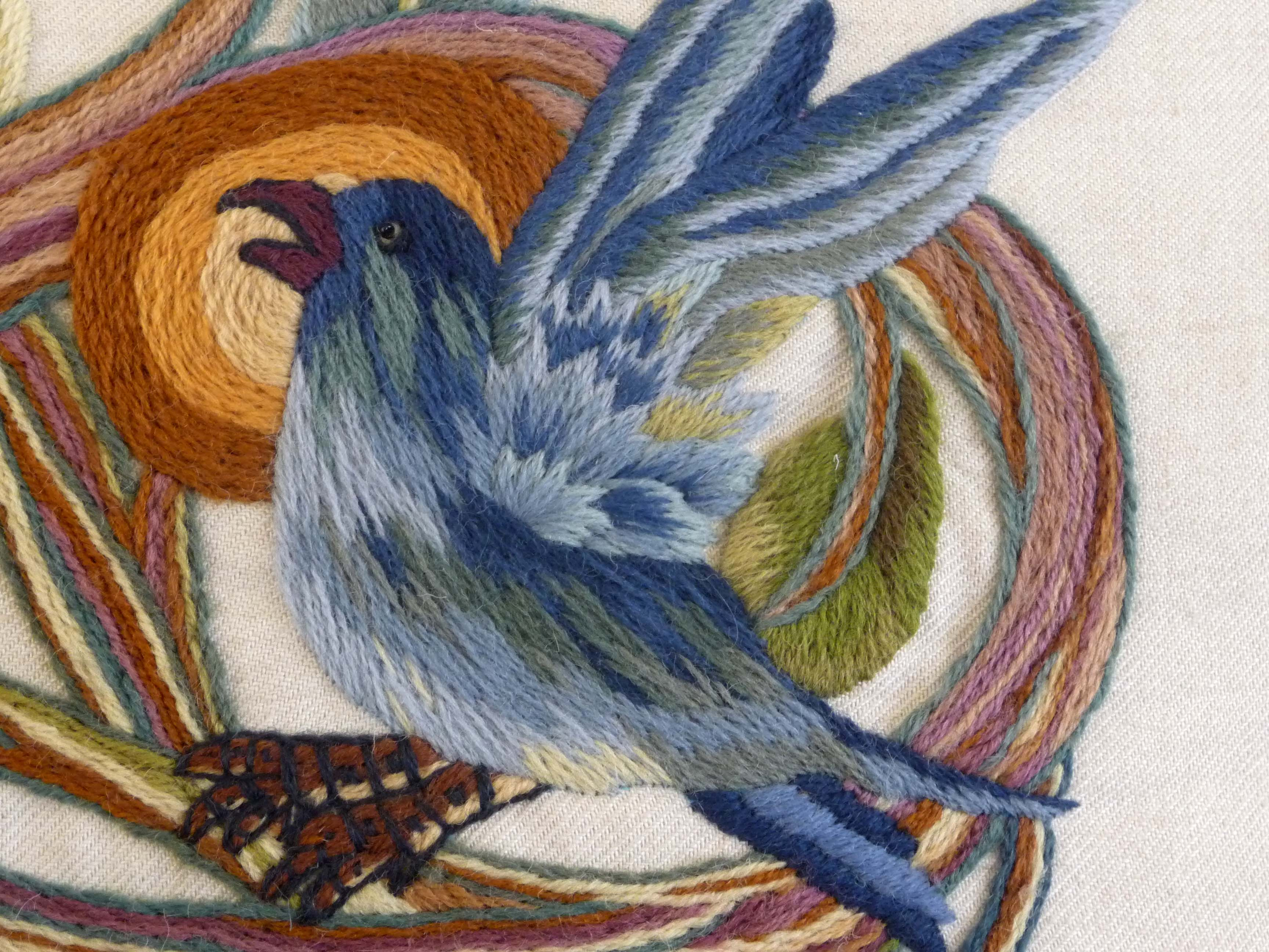 detail of crewelwork cushion by Philipa Turnbull