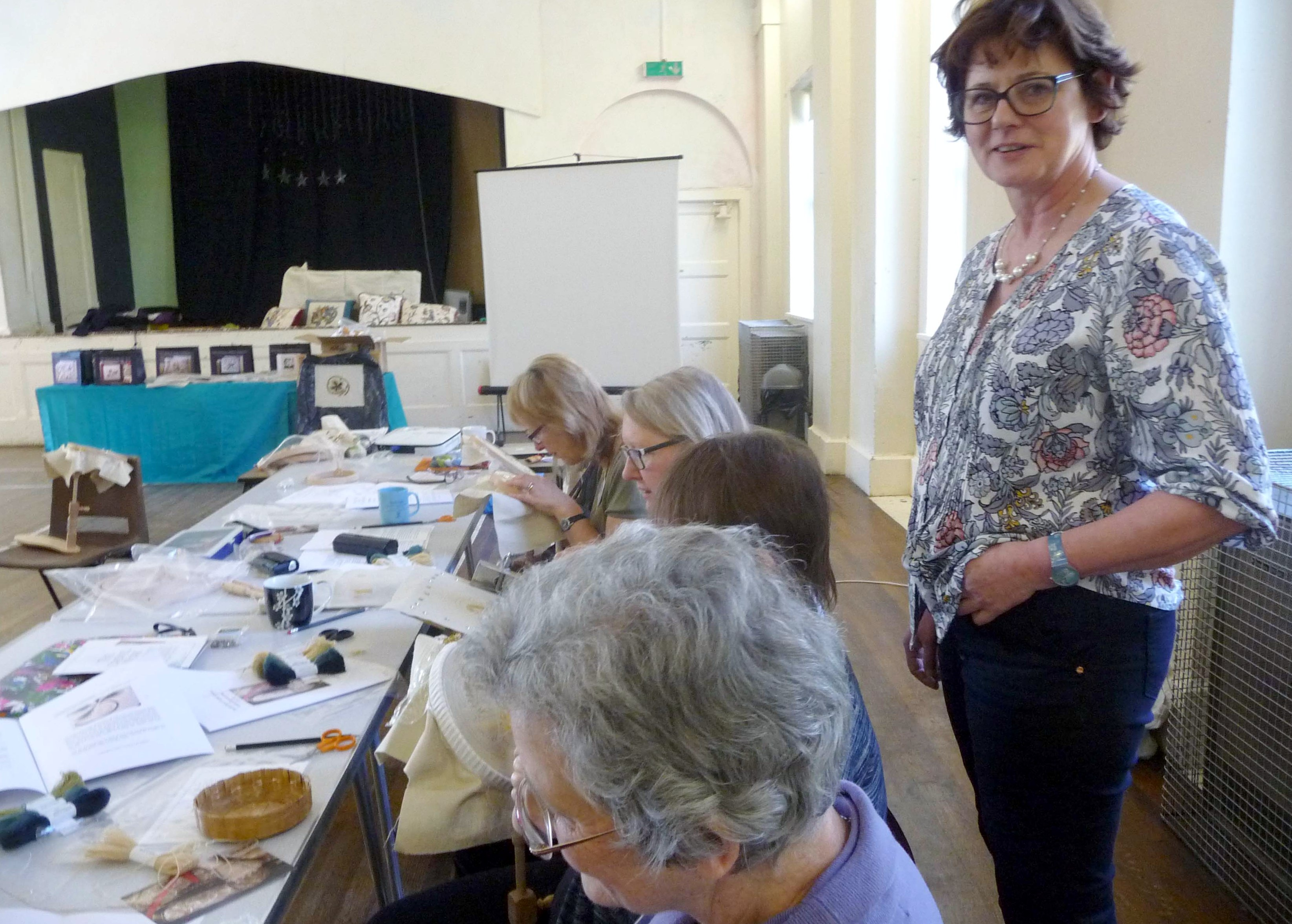 Philipa Turnbull is our Tutor at a crewelwork embroidery workshop