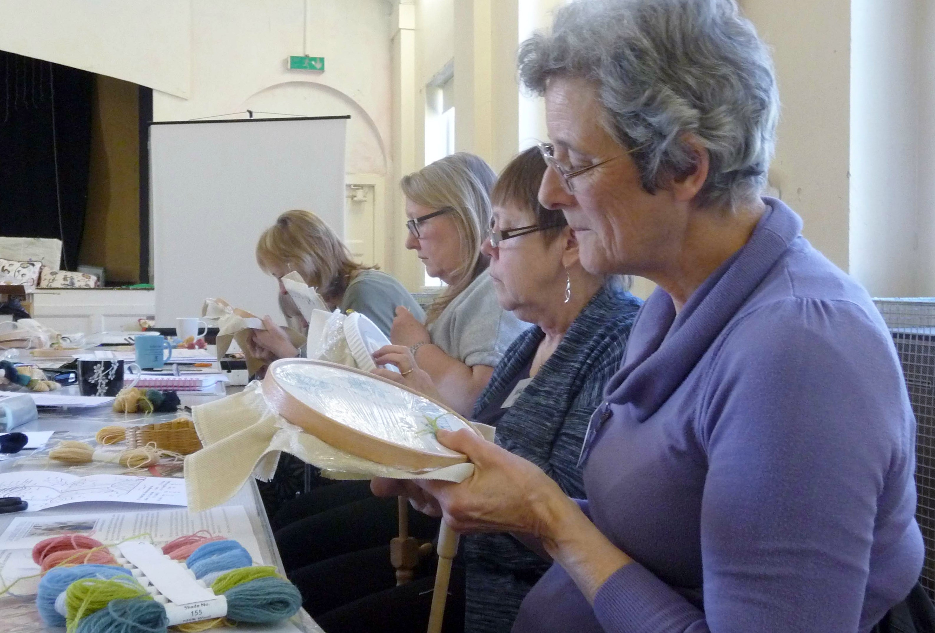 students are learning long and short stitch at Philipa Turnbull workshop