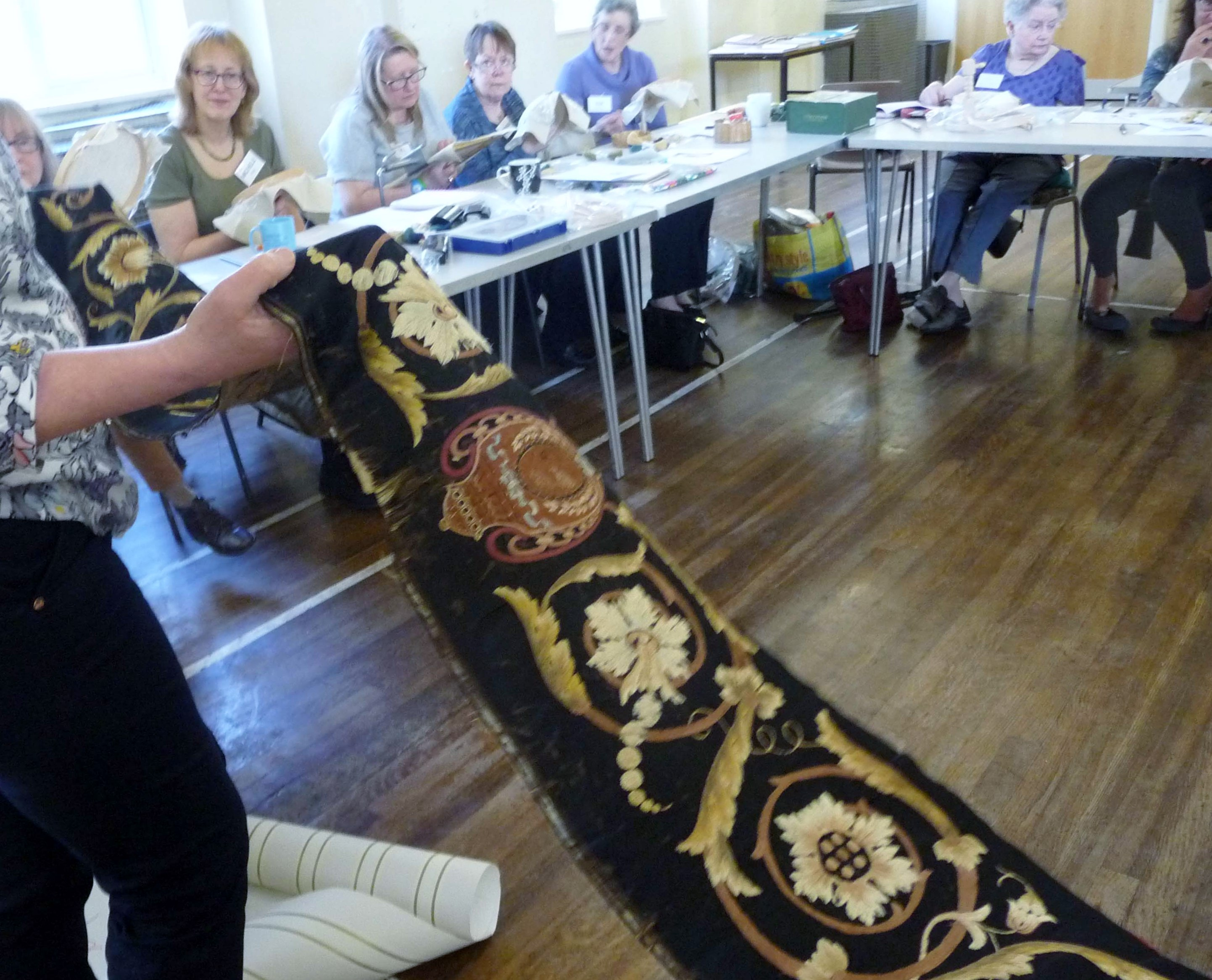 antique crewelwork frieze at Philipa Turnbull workshop