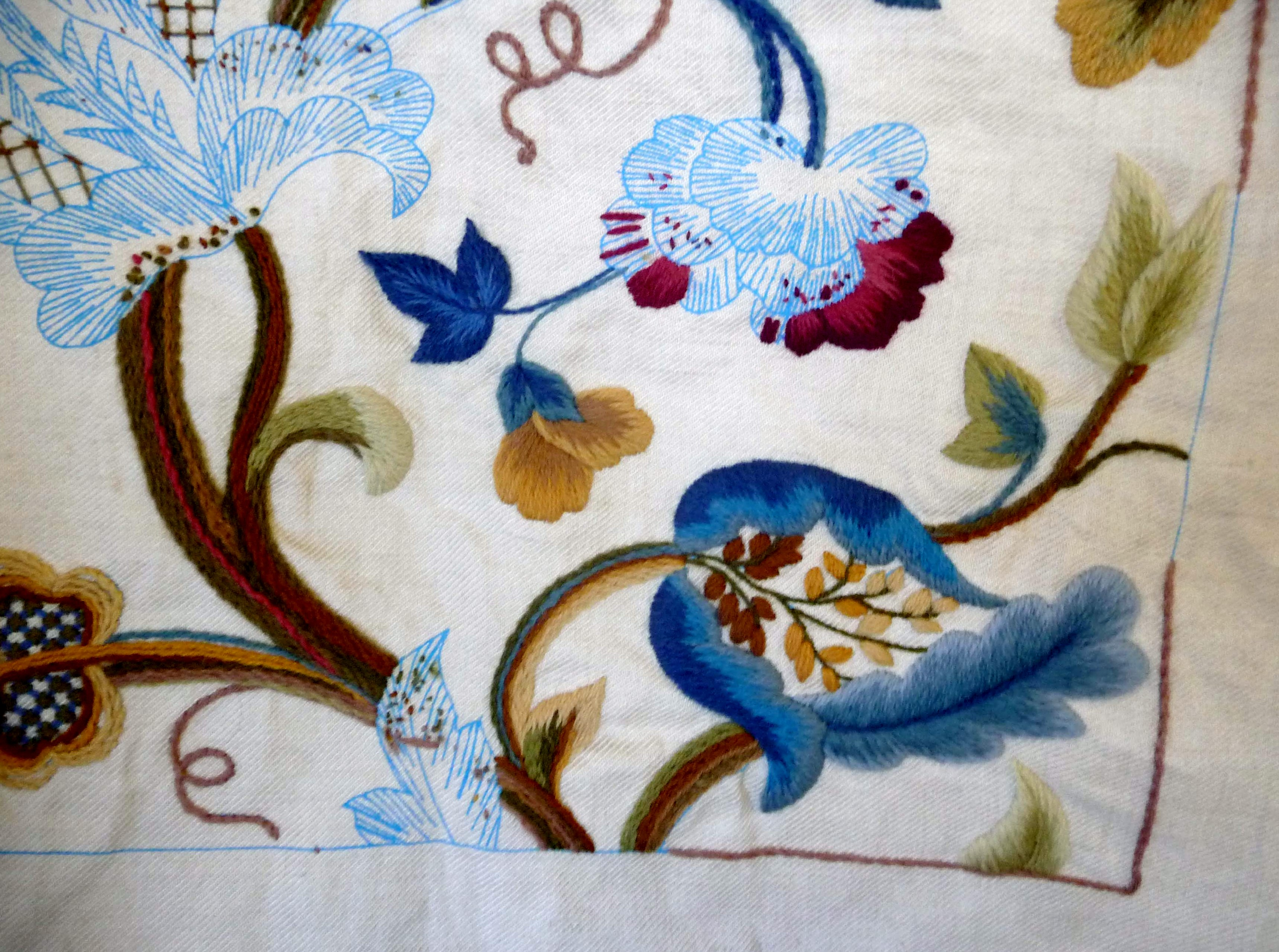 sample of crewelwork embroidery by Philipa Turnbull