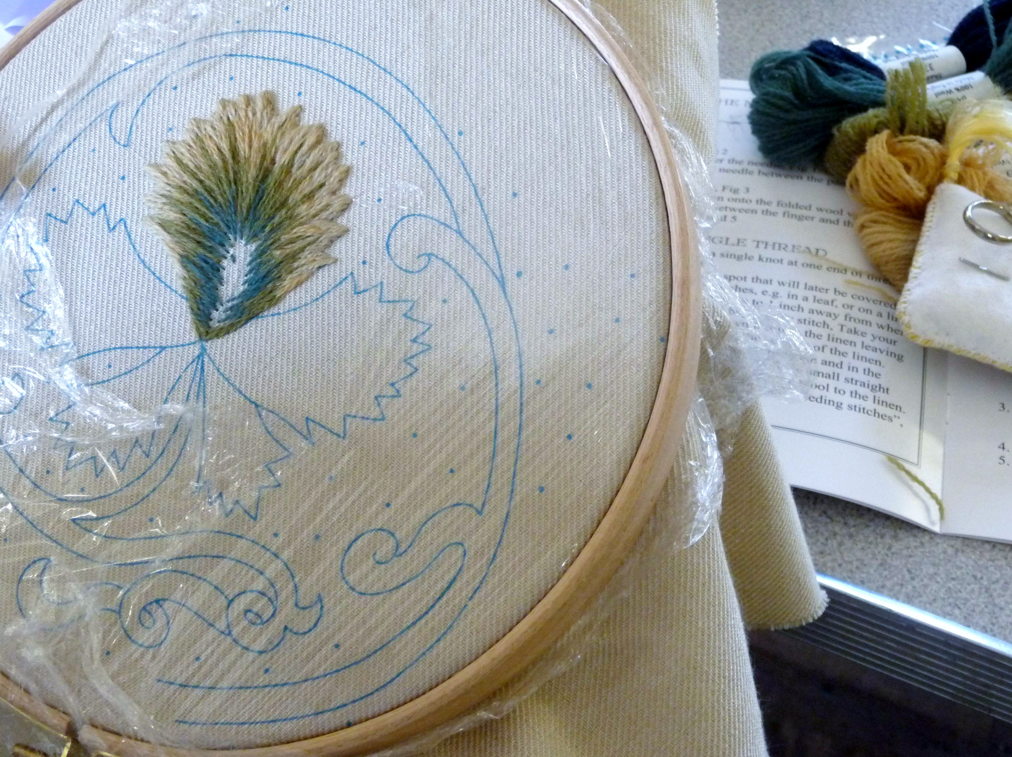 Mal has mastered long and short stitch at Philipa Turnbull's crewelwork workshop