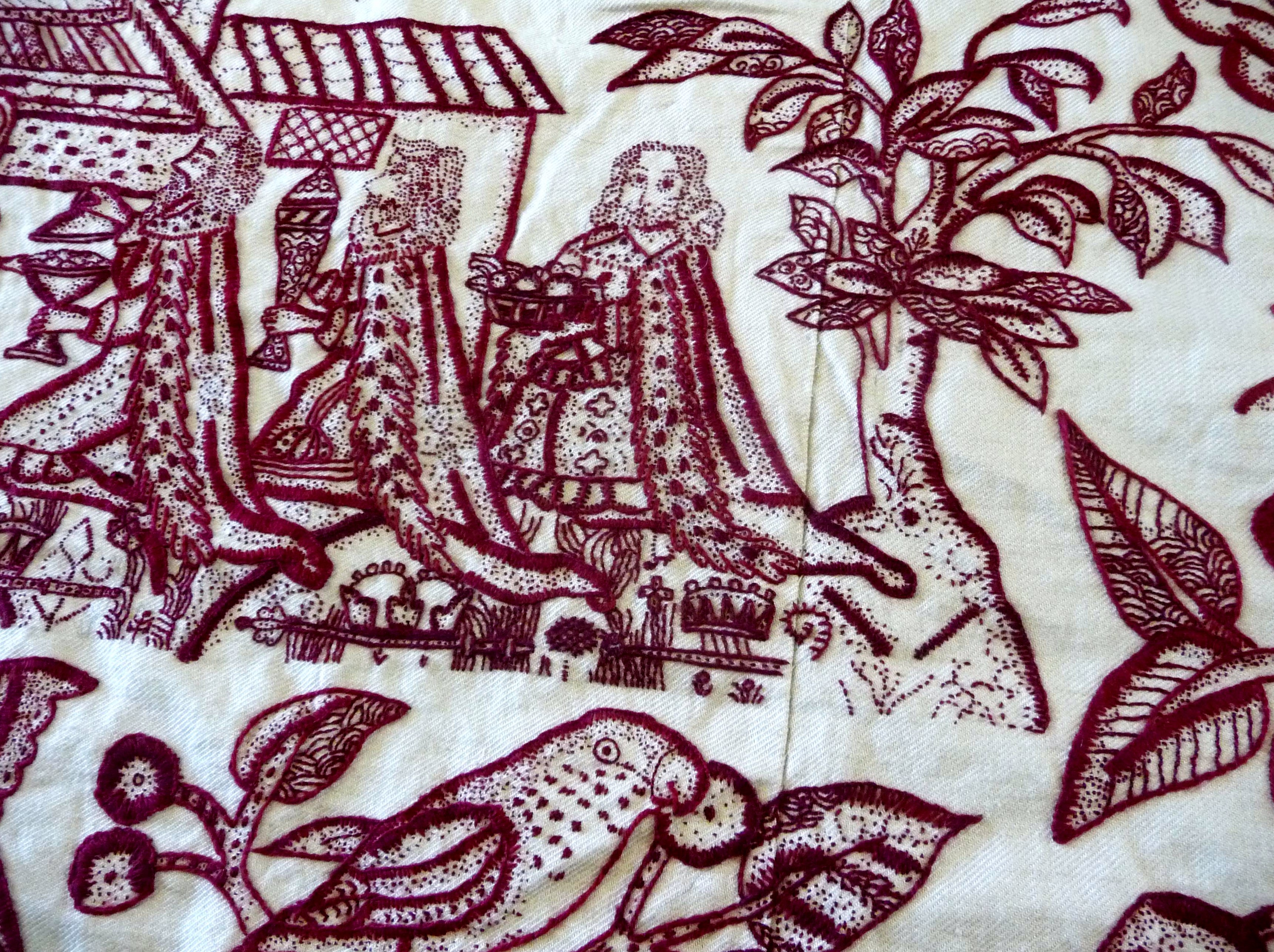 detail of embroidered reproduction of a redwork altar cloth by Phillipa Turnbull