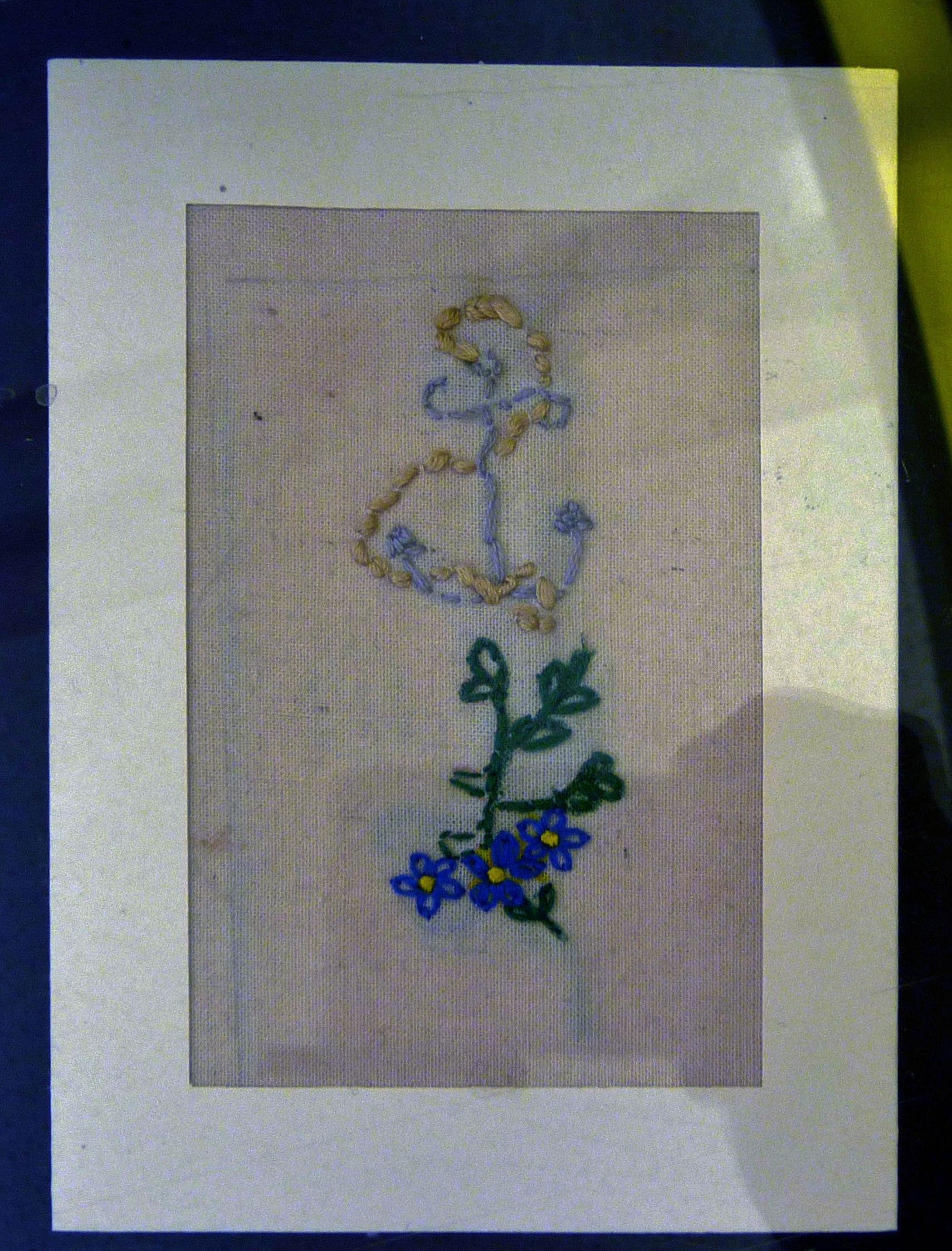 Embroidered postcard by Hope Allen