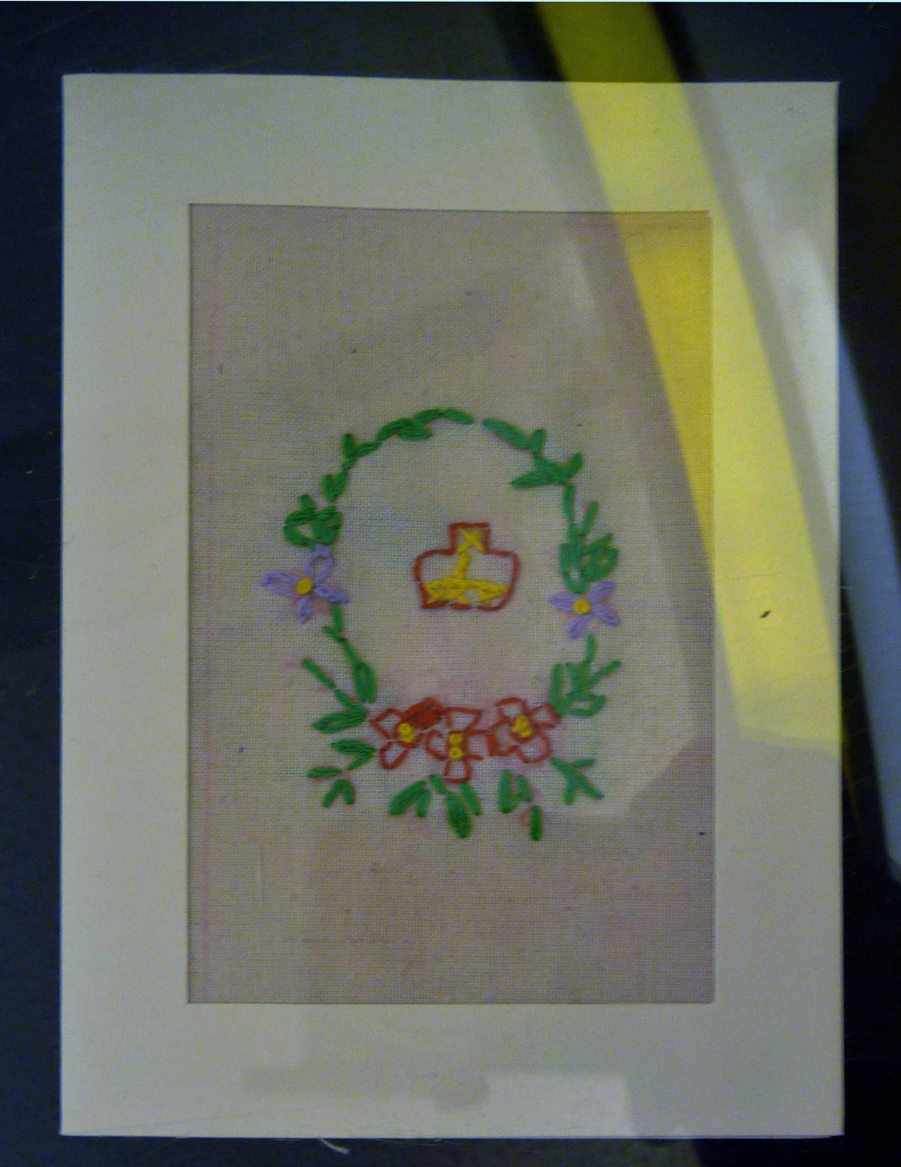 Embroidered postcard by Grace Coltart