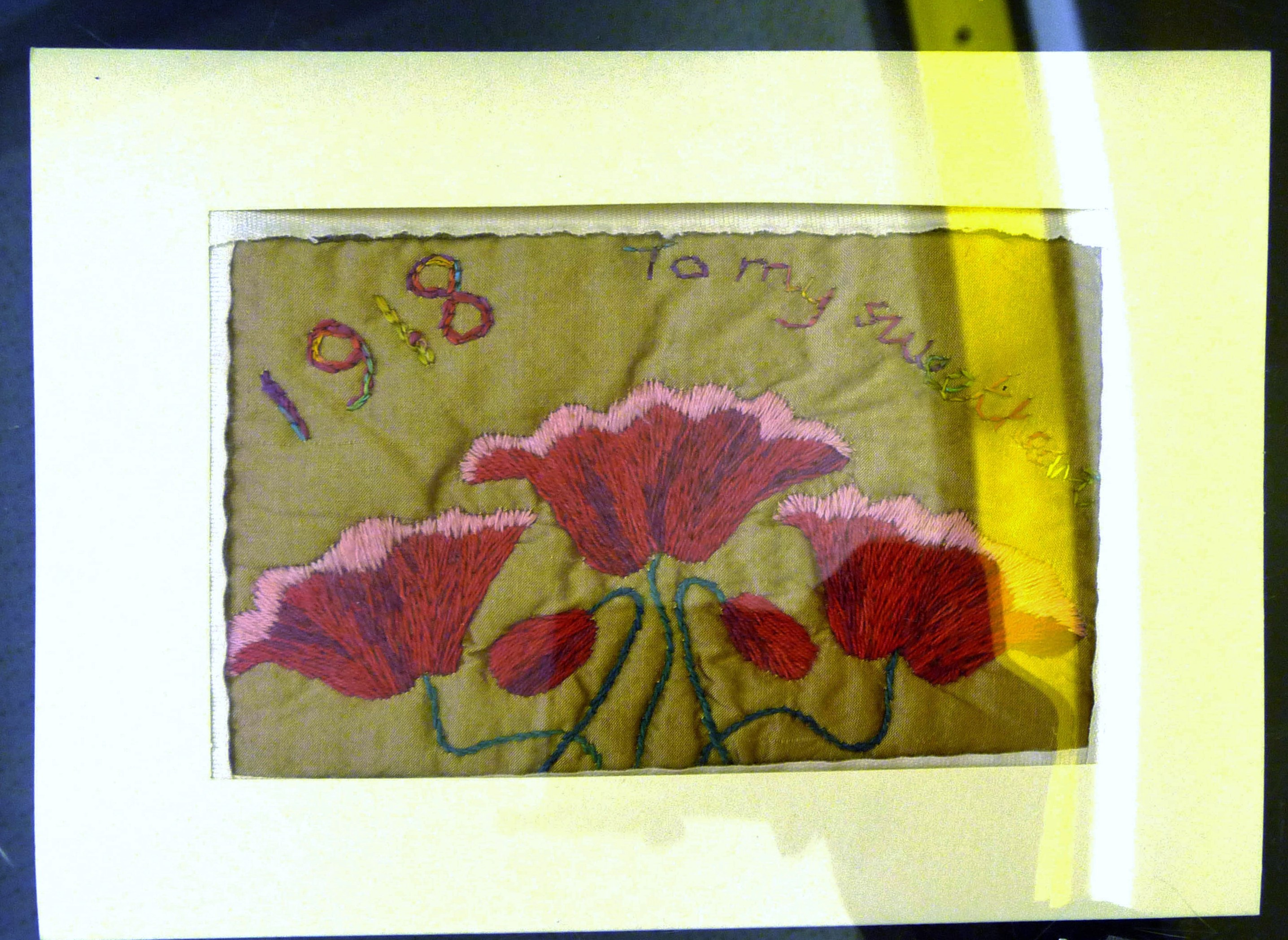 Embroidered postcard by Mal Ralston