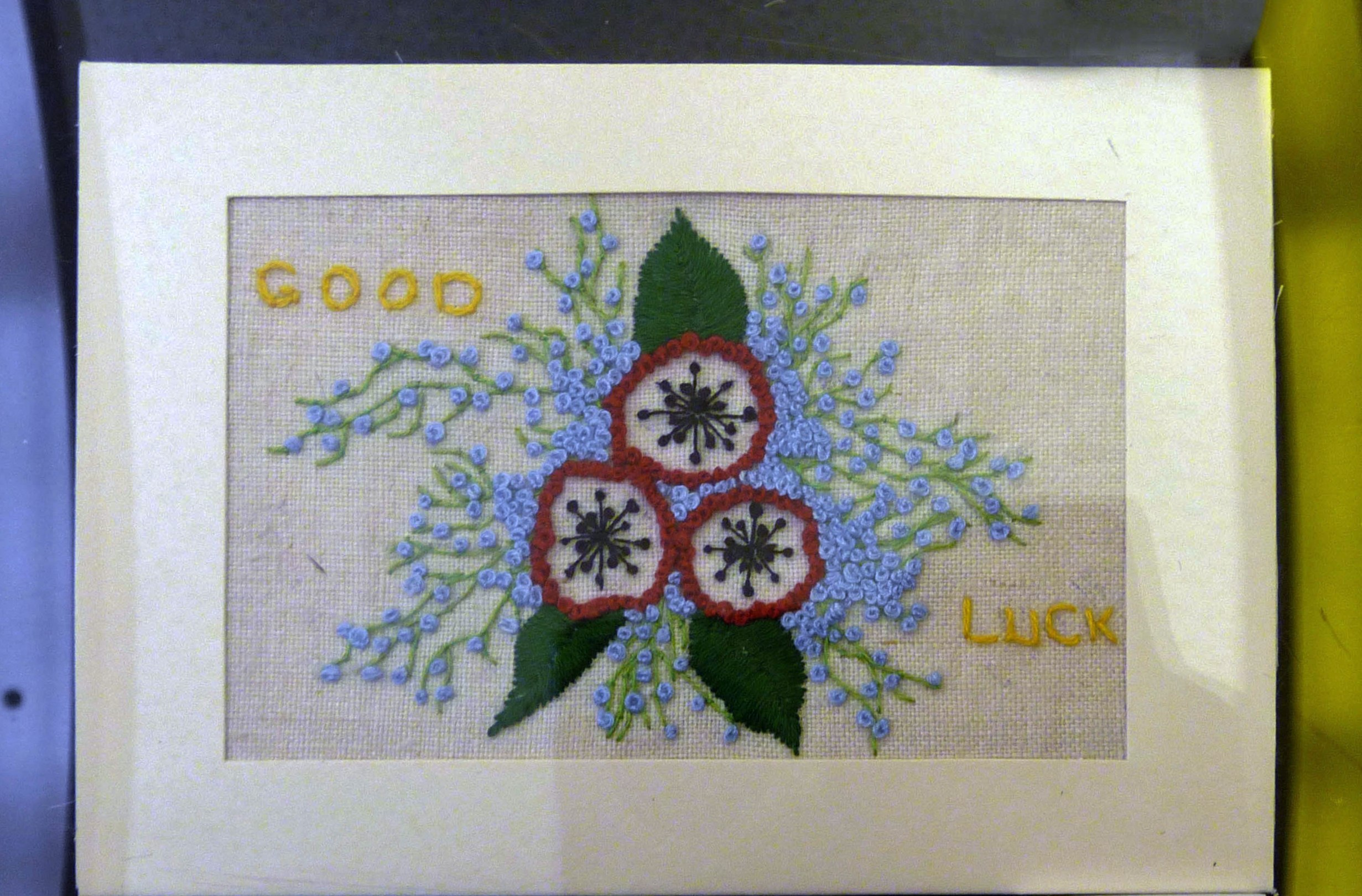 Embroidered postcard by Gill Keegan