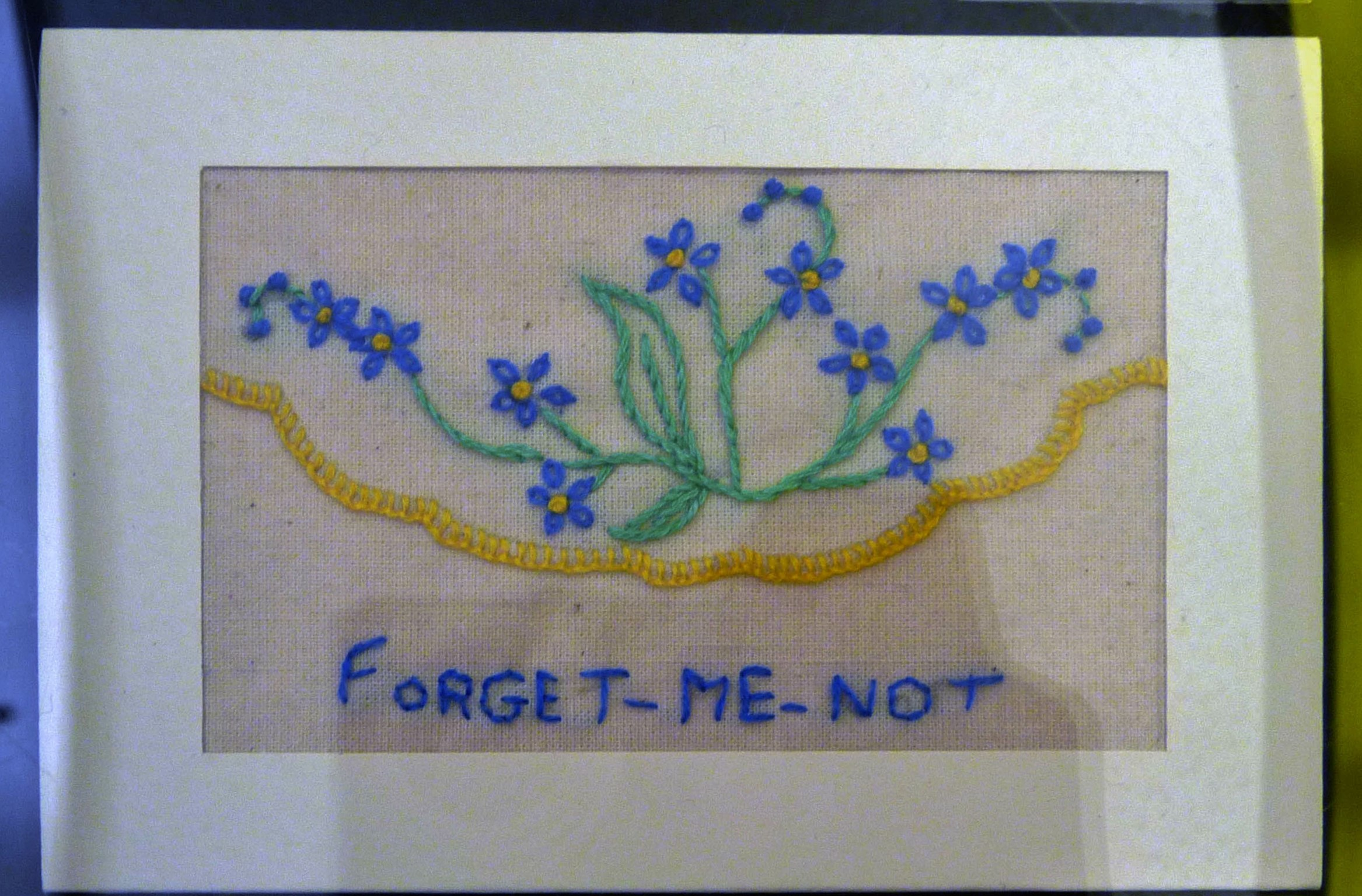 Embroidered postcard by Val Heron