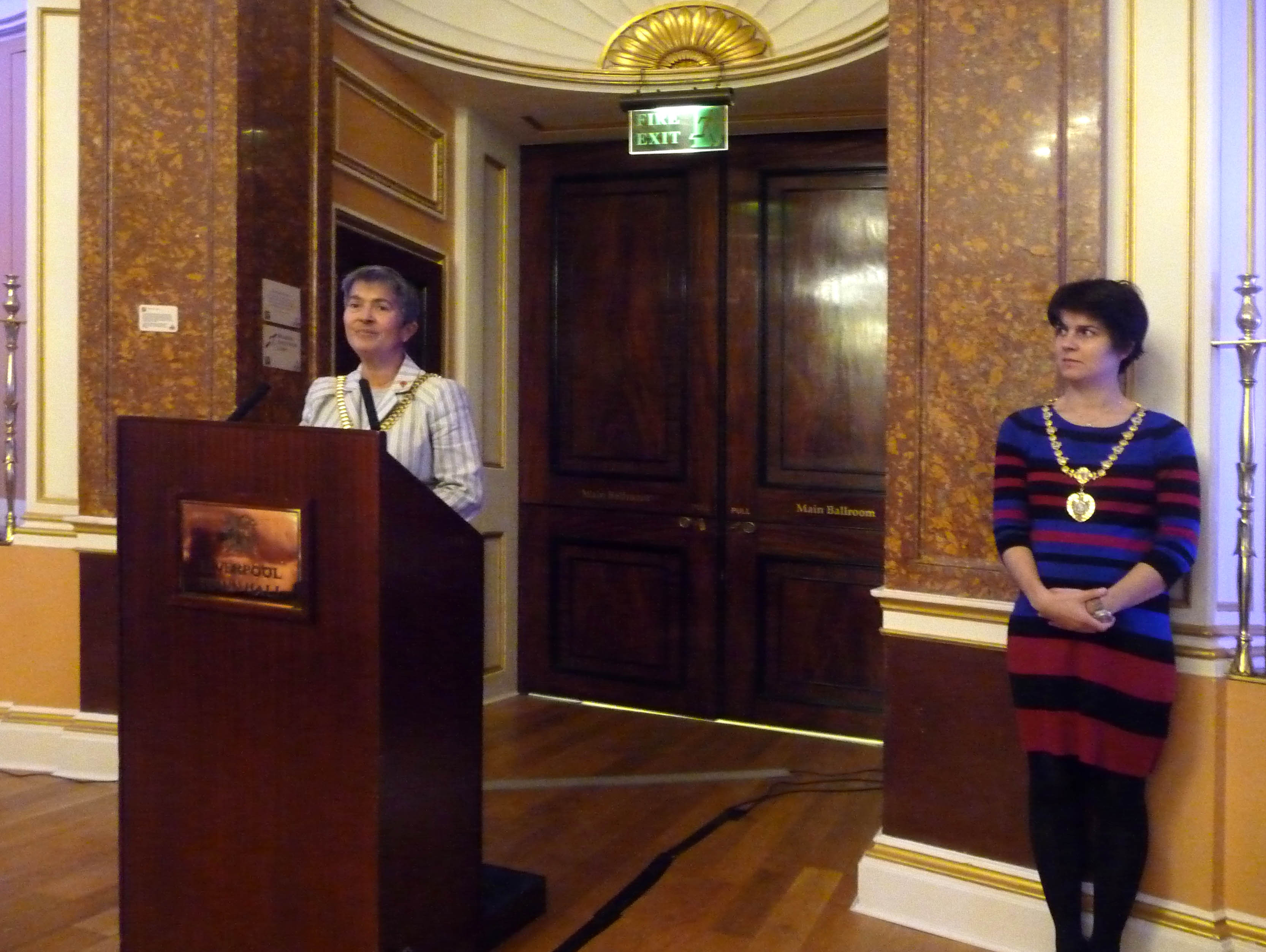 """Tea party in Liverpool Town Hall to Launch """"Posting to the Past"""" embroidered postcard exhibition with Liverpool Lord Mayor Erica Kemp and the Lady Mayoress"""