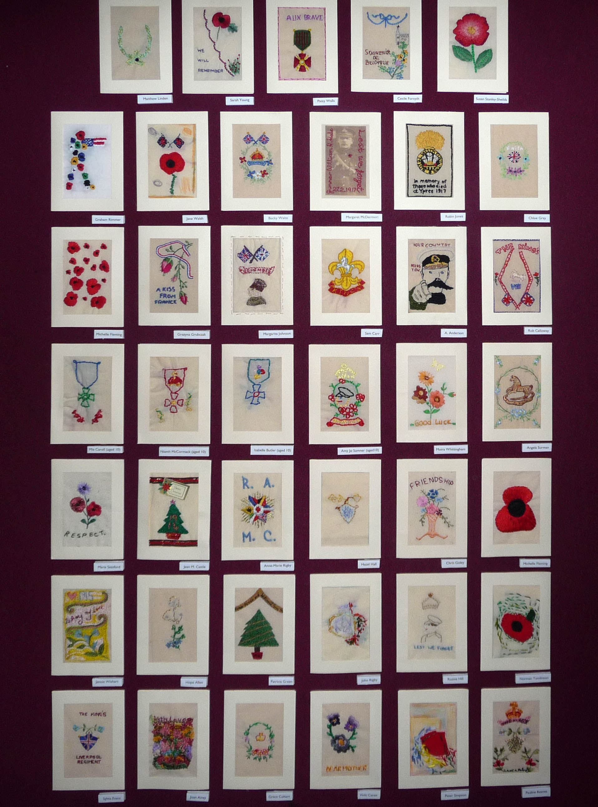 """""""Posting to the Past"""" exhibition of embroidered postcards, created by the people of Merseyside, and inspired by those sent from the front during World War 1"""