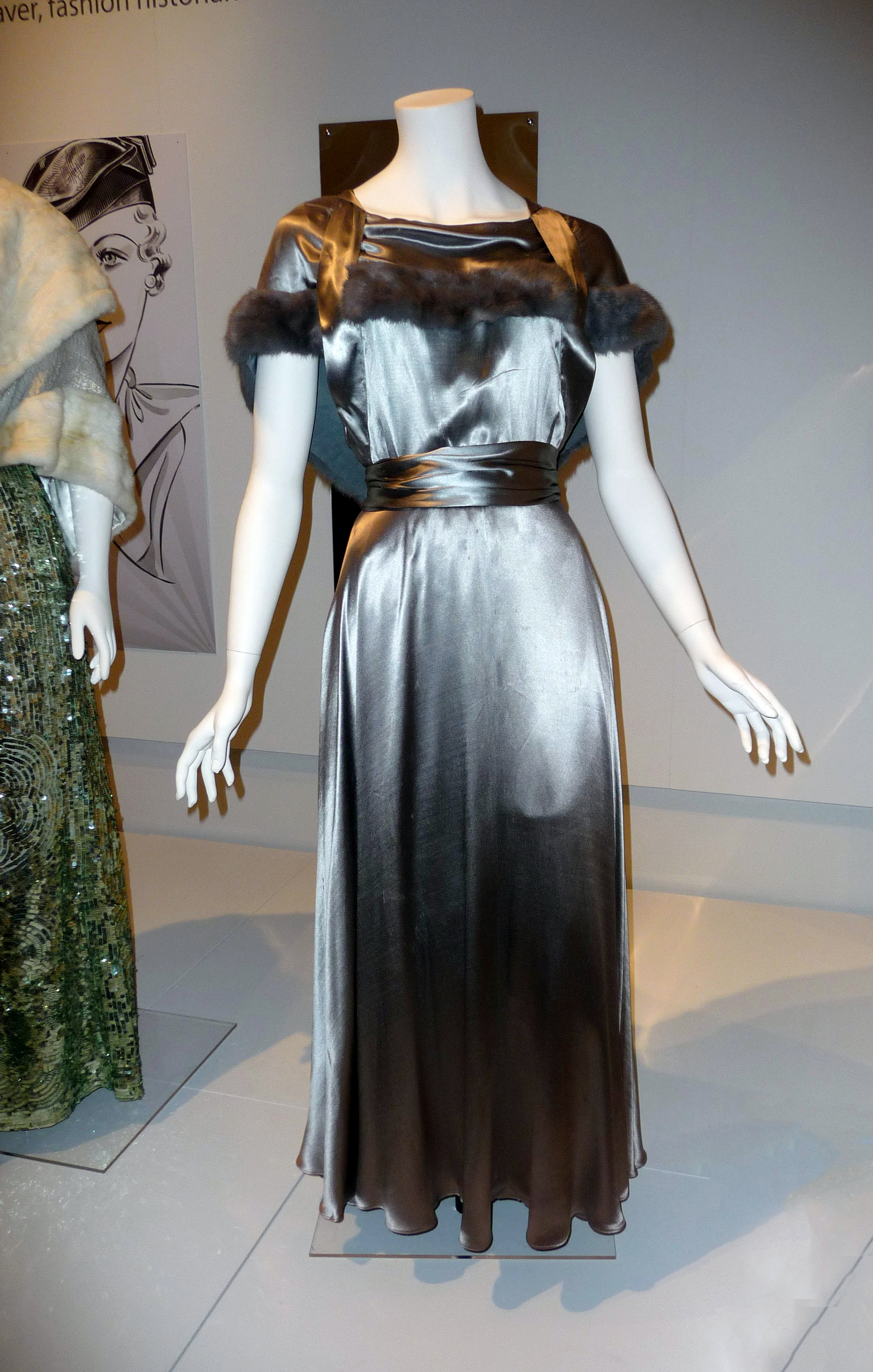 Evening dress, silk satin & dyed rabbit fur, 1932-35