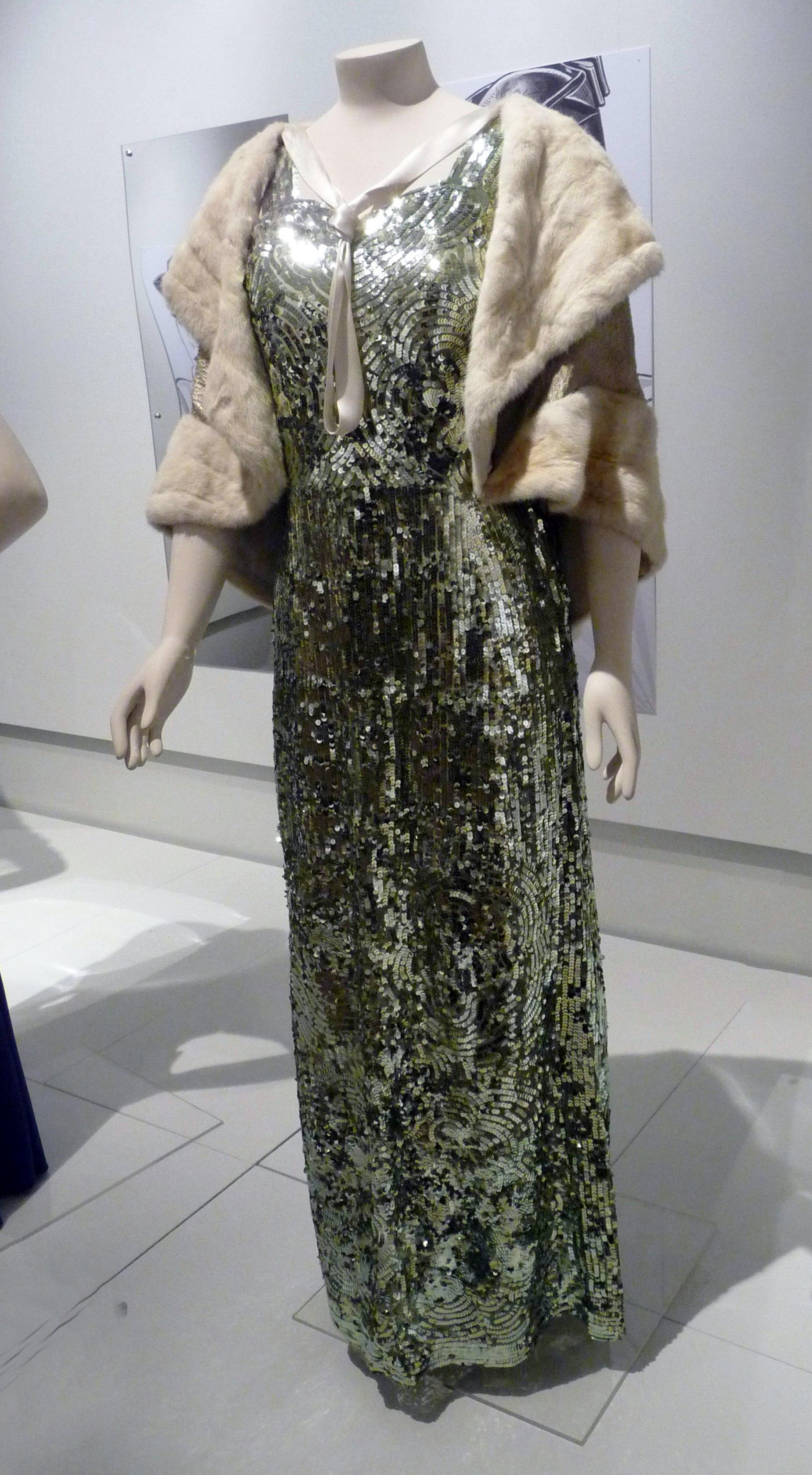 Evening dress, cotton net & metallic sequins, 1935