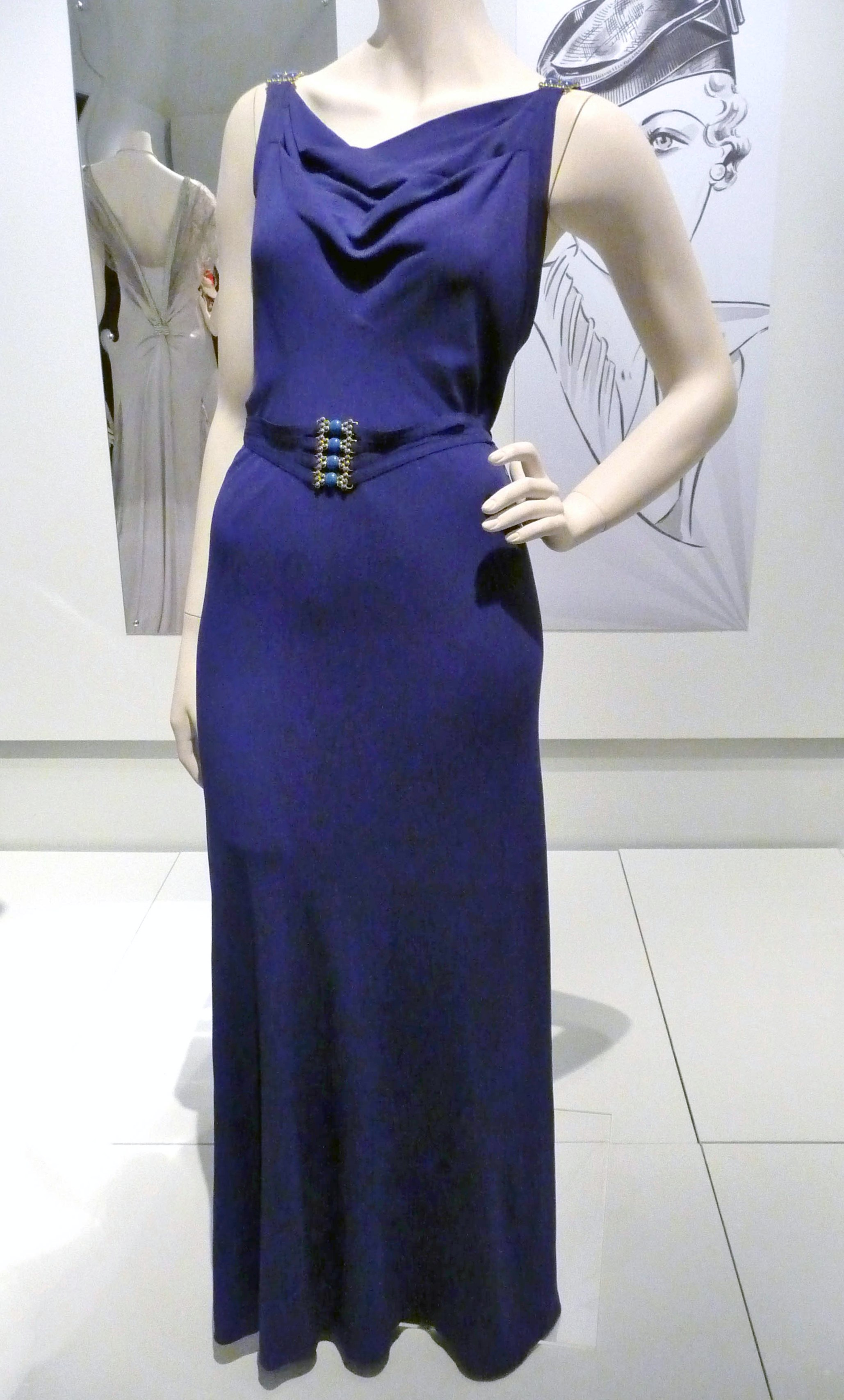 Evening dress, rayon jersey, 1938-40