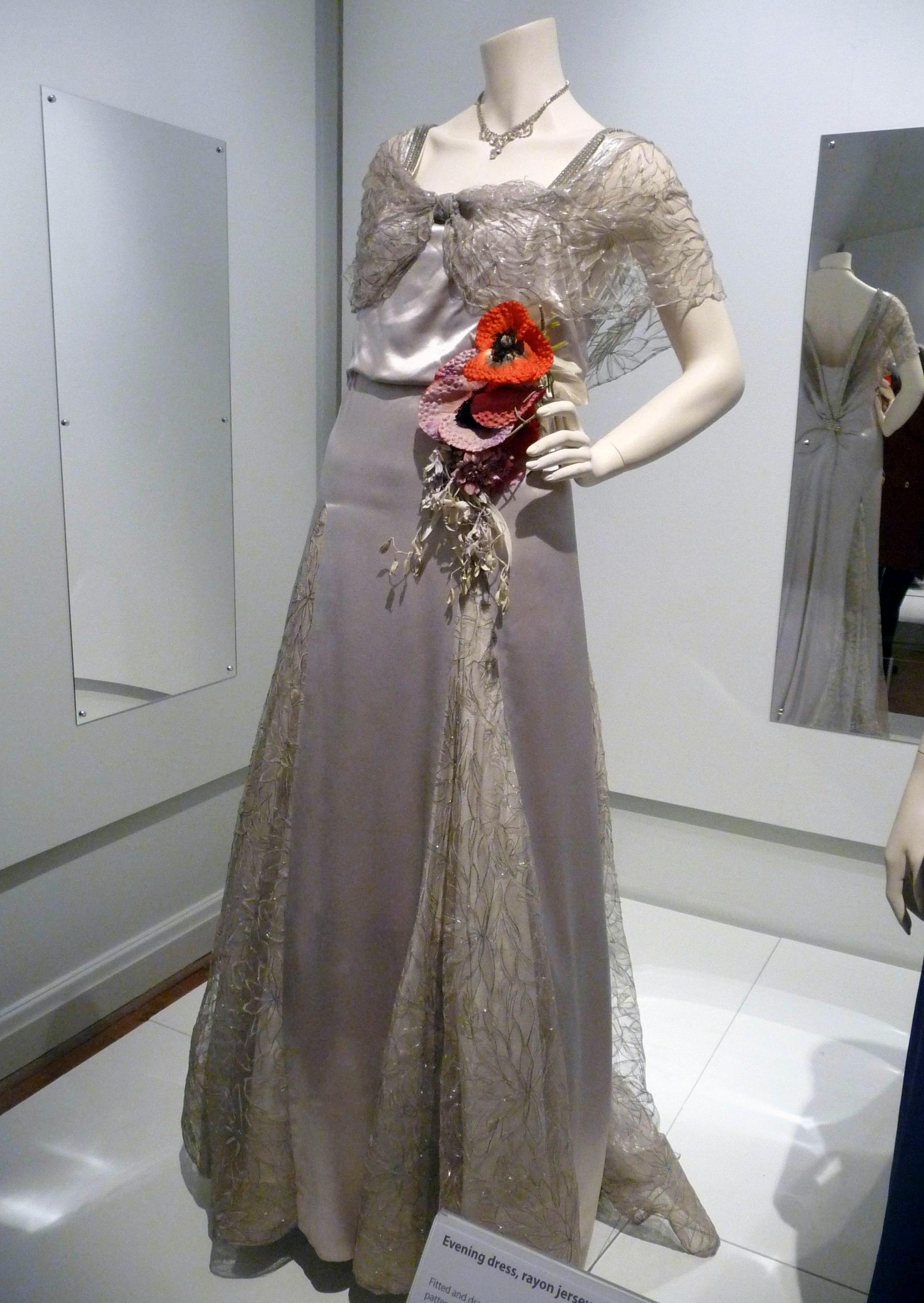 Evening dress, silk satin & metallic woven net, 1936