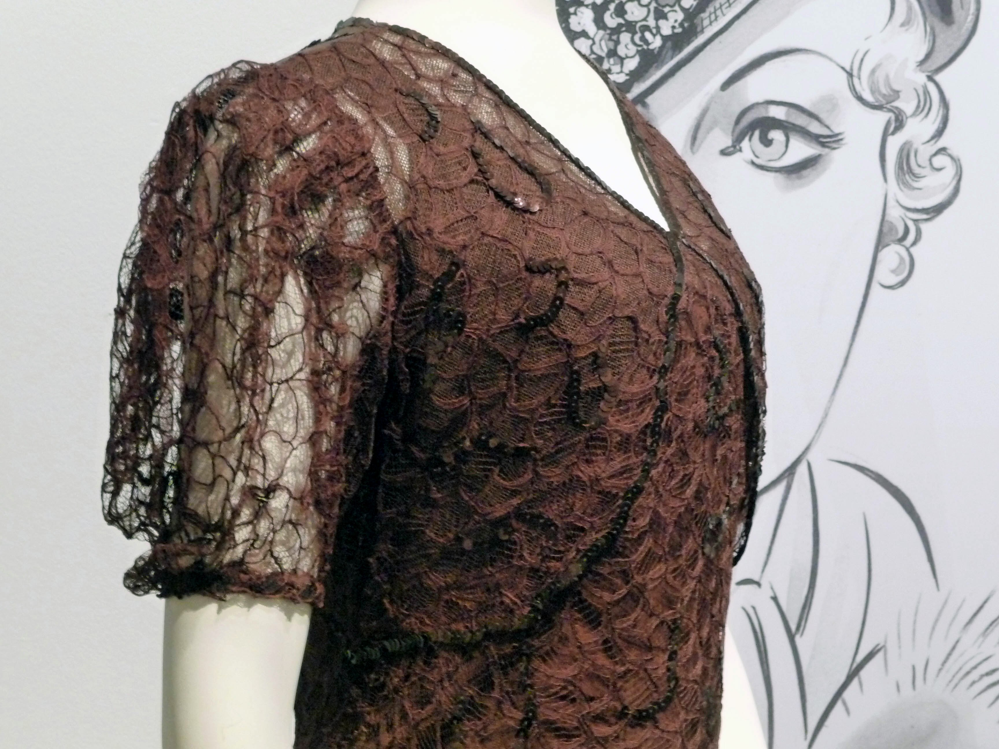 detail of  evening dress, rayon & machine-made lace with applied sequins, 1937-38