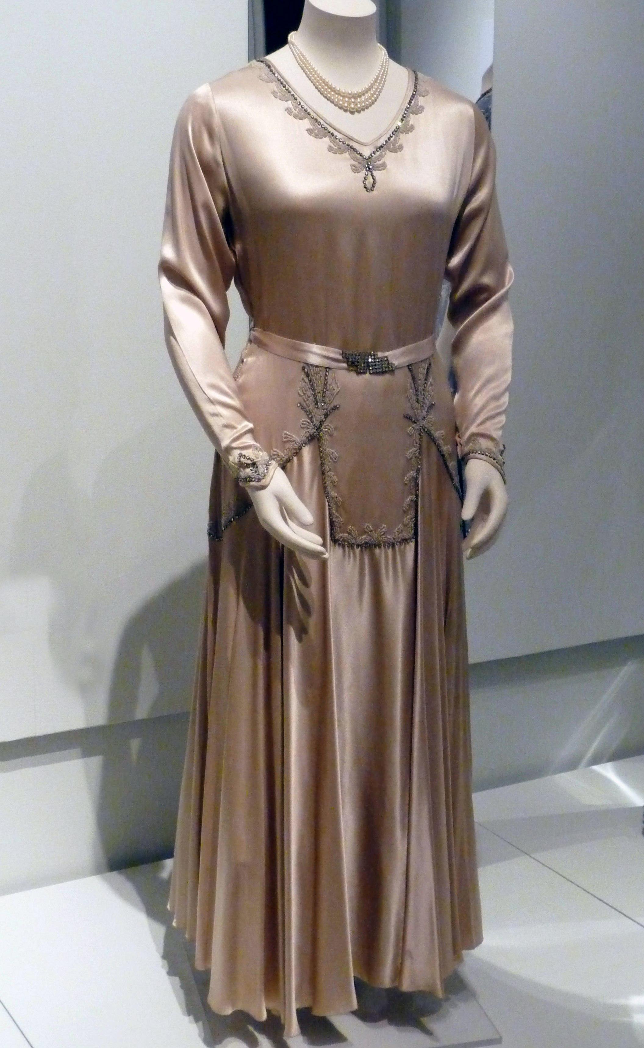 Wedding dress, silk satin with applied pearls & diamante beads, 1930