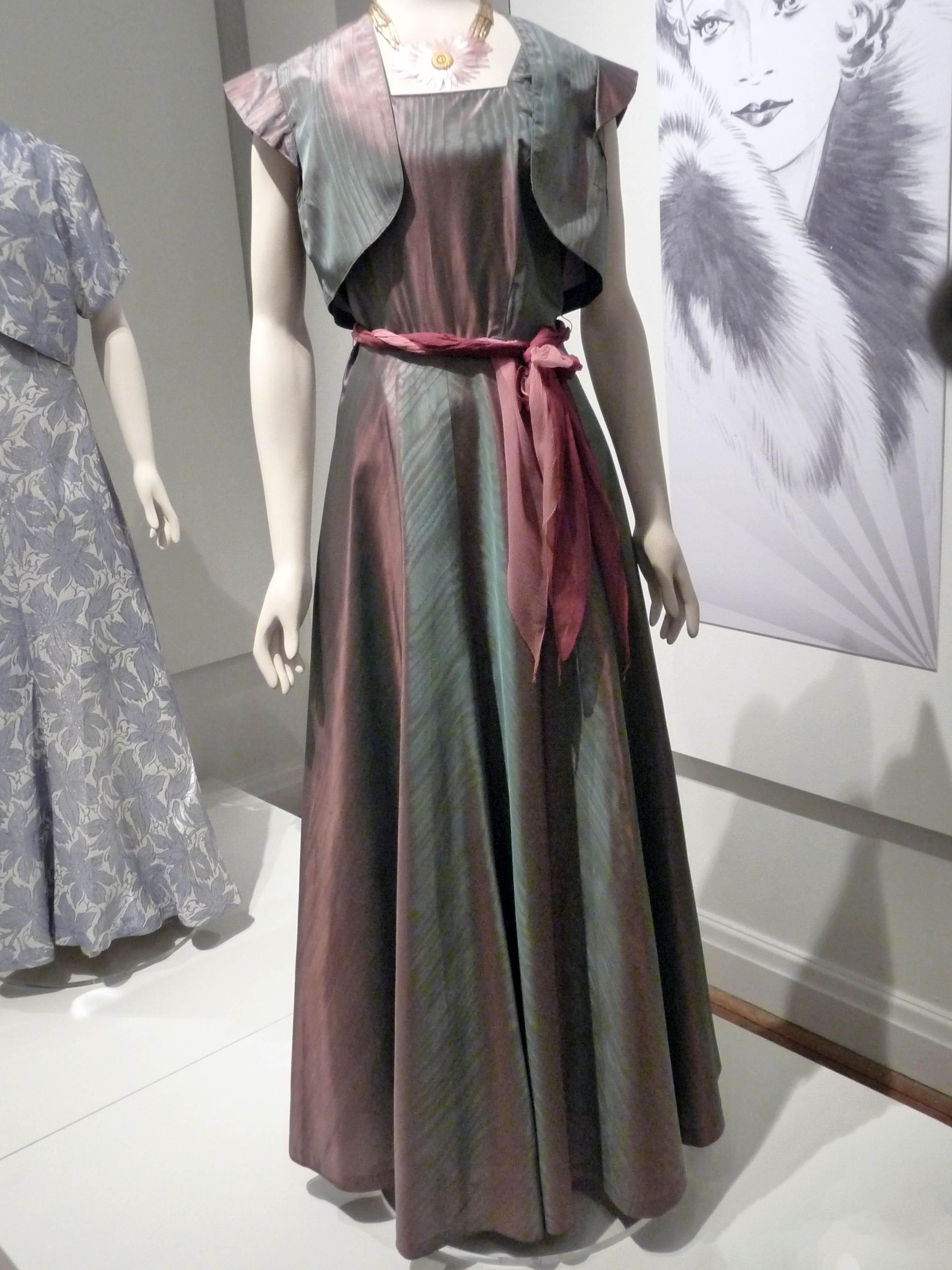 Evening dress & matching bolero jacket, rayon taffeta, 1935-38