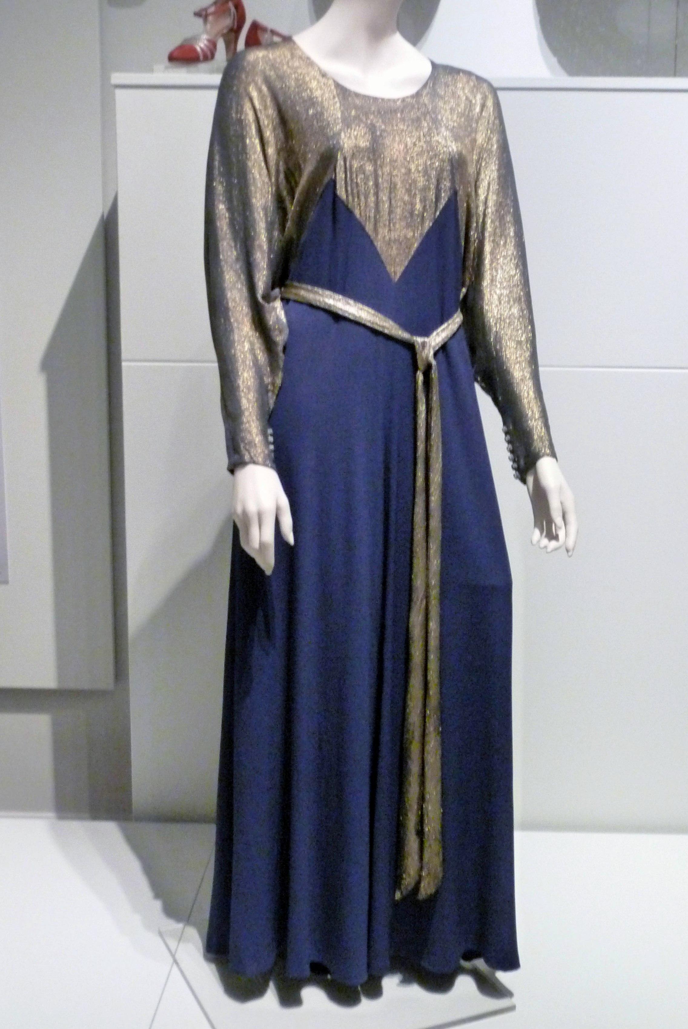 Evening dress, rayon crepe & gold lame, 1935-37