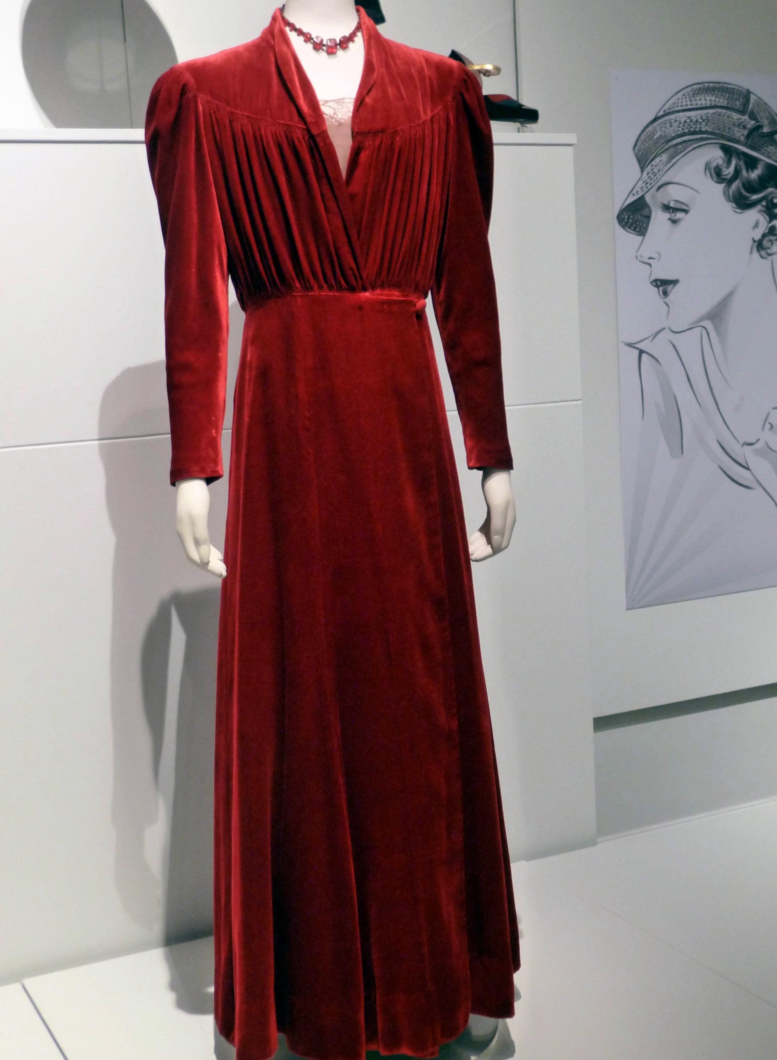 Evening dress, silk velvet, 1938